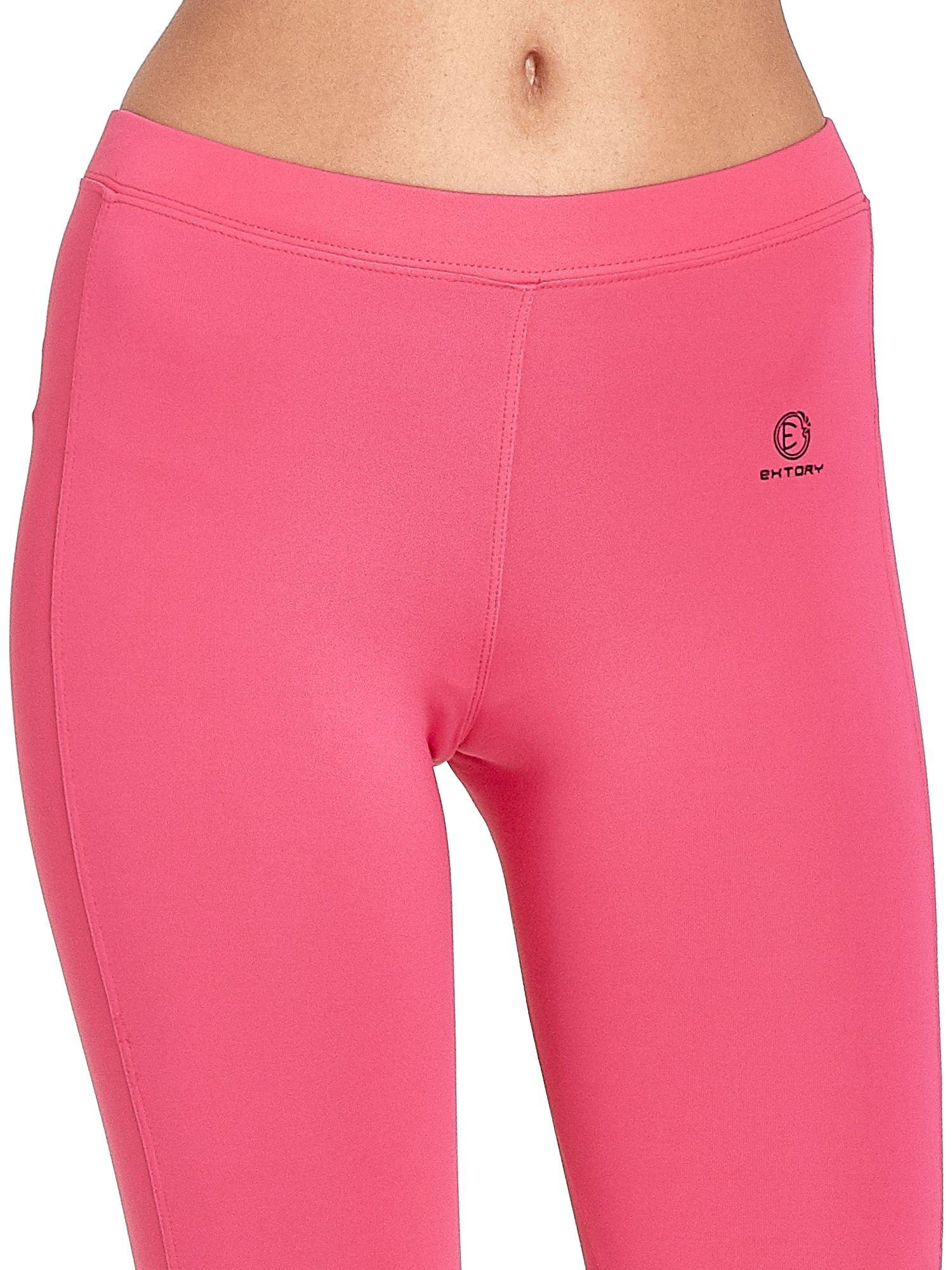 Różowe legginsy sportowe termalne z drapowaniem                                  zdj.                                  4