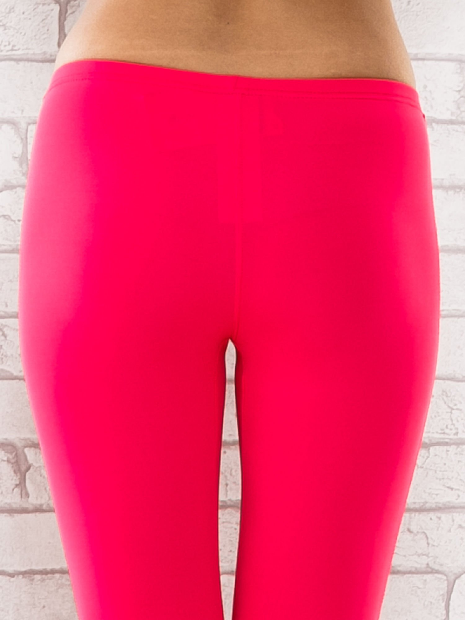 Różowe legginsy sportowe termalne z dżetami na nogawkach                                  zdj.                                  6