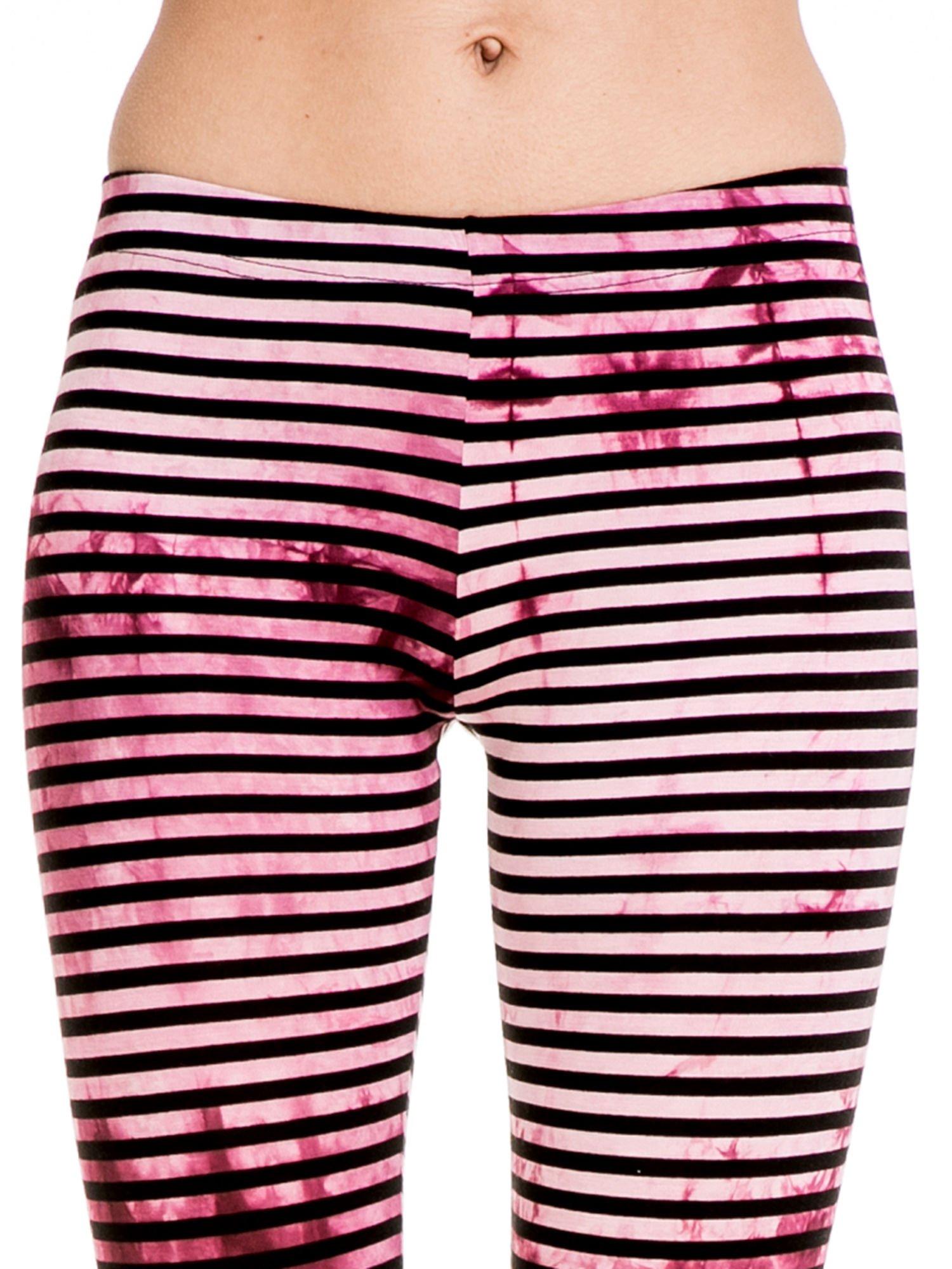 Różowe legginsy w paski z feketem tie-dye                                  zdj.                                  5