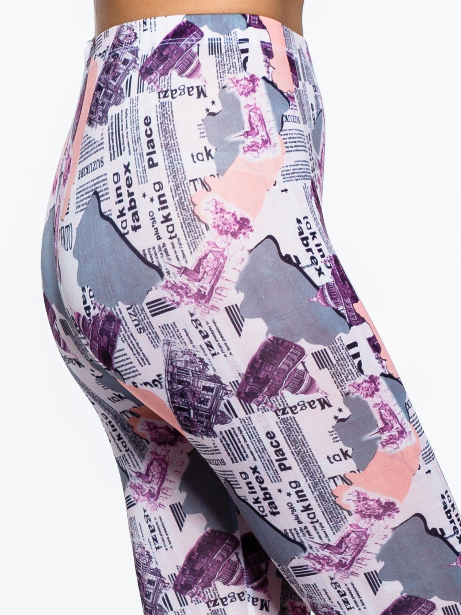 Różowe legginsy z motywem newspaper print                                  zdj.                                  6