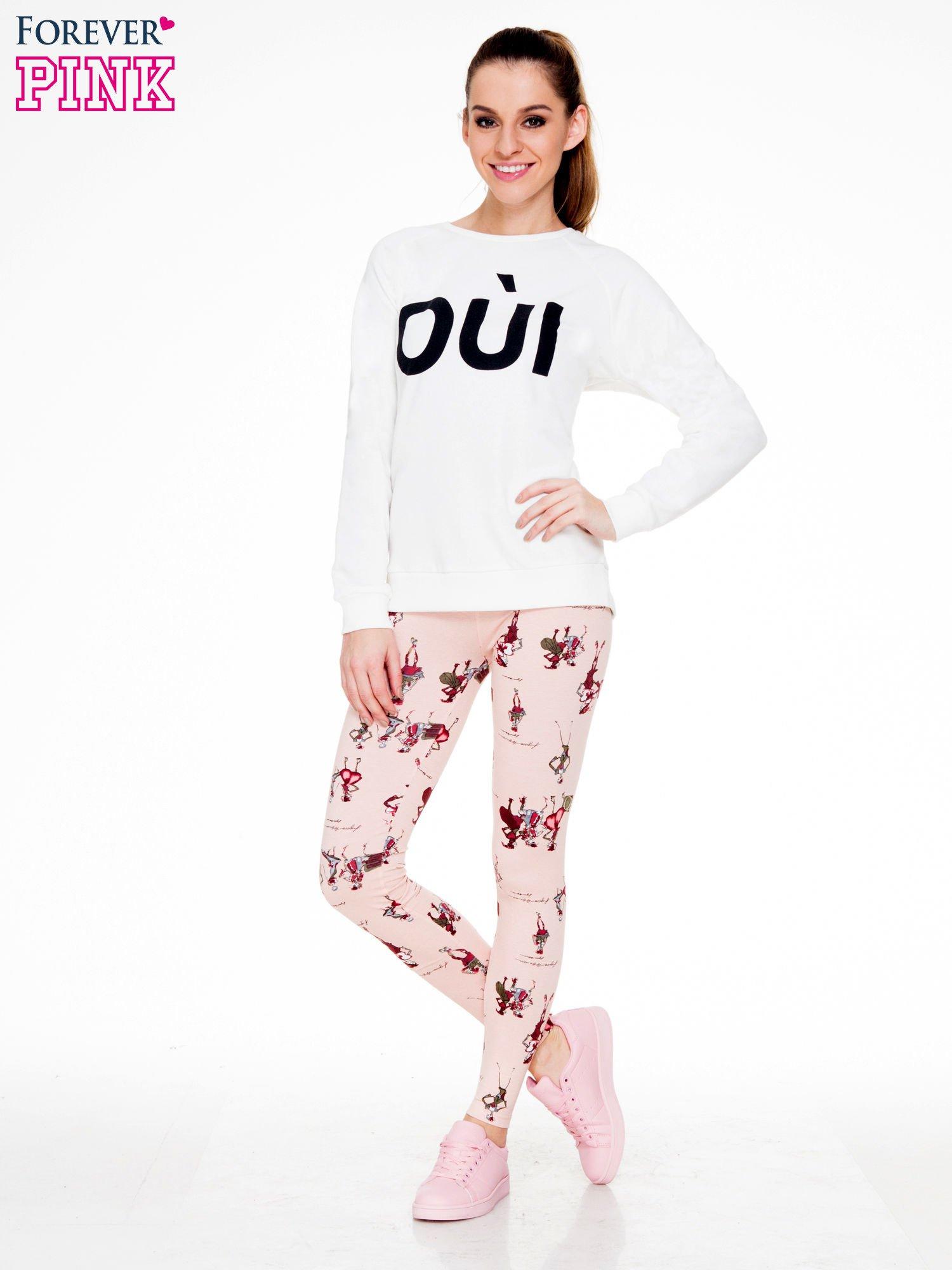 Różowe legginsy z nadrukiem kobiet w stylu retro                                  zdj.                                  4