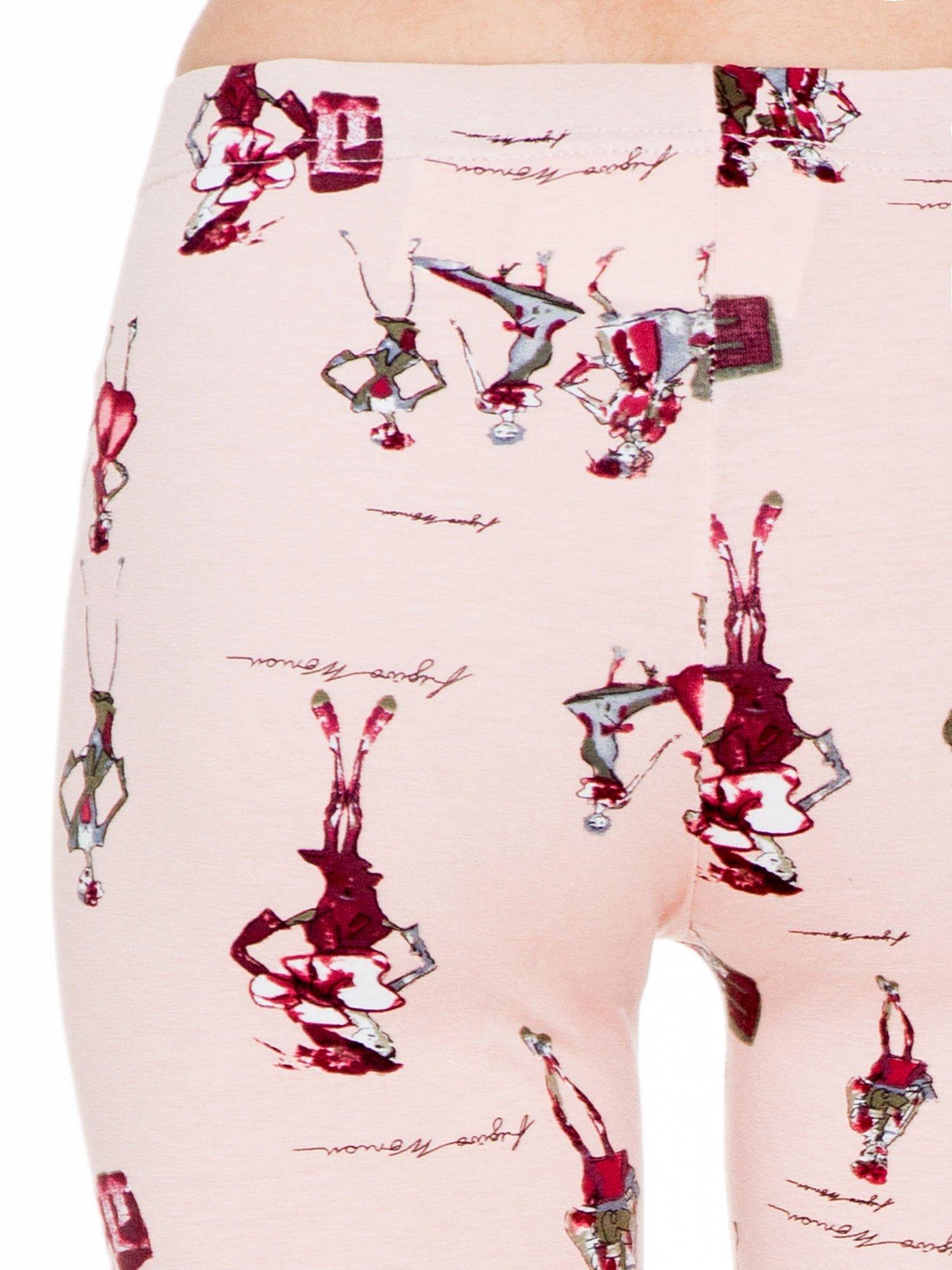 Różowe legginsy z nadrukiem kobiet w stylu retro                                  zdj.                                  6