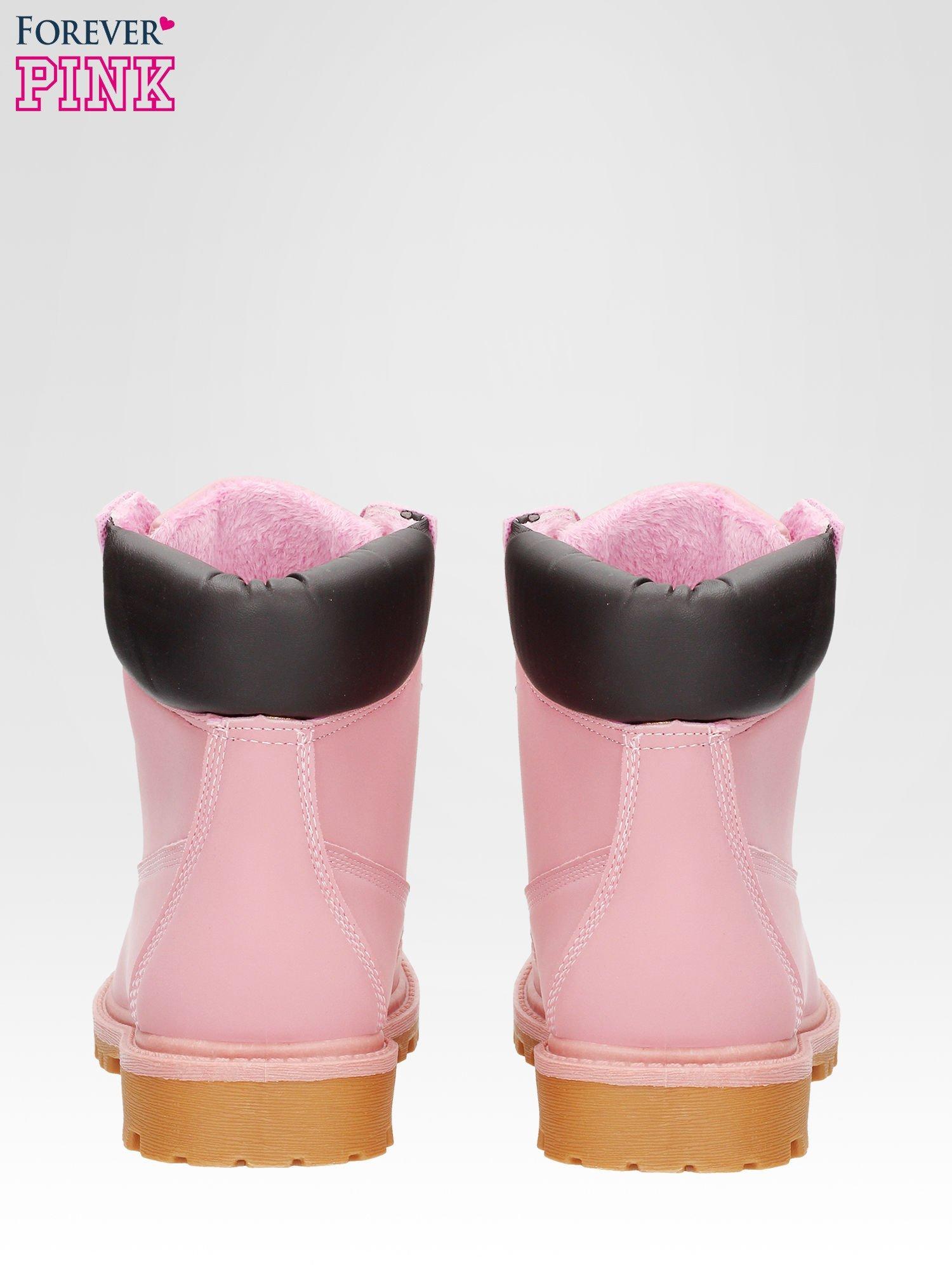 Różowe ocieplane traperki damskie z kontrastowym kołnierzem                                  zdj.                                  3