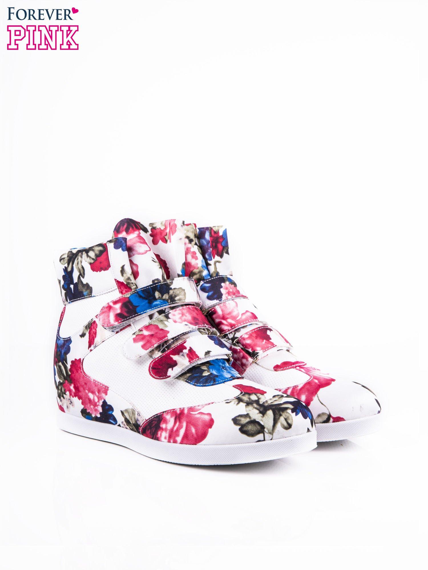 Różowe sneakersy na rzepy Rosita z kwiatowym motywem                                  zdj.                                  2