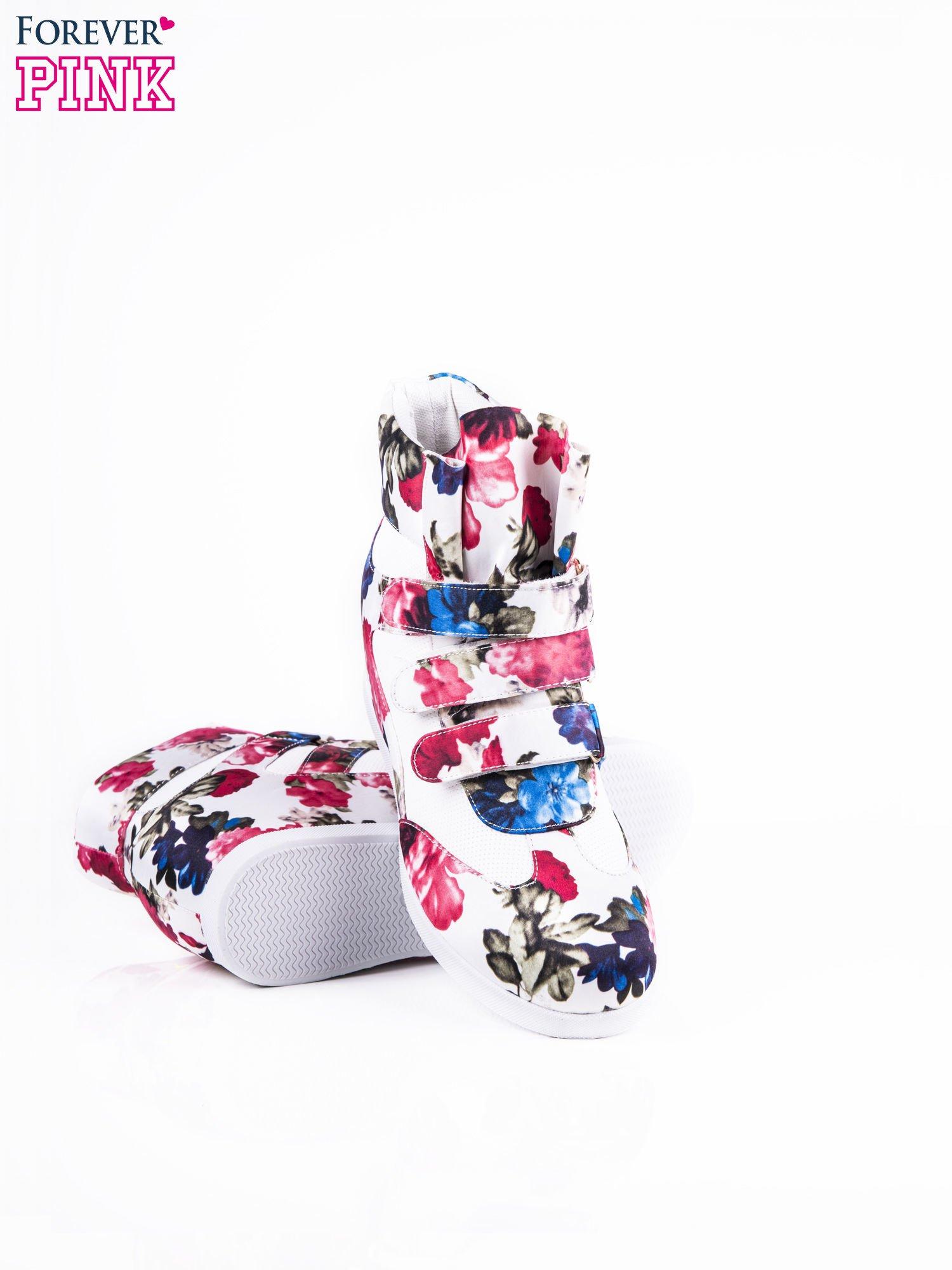 Różowe sneakersy na rzepy Rosita z kwiatowym motywem                                  zdj.                                  3