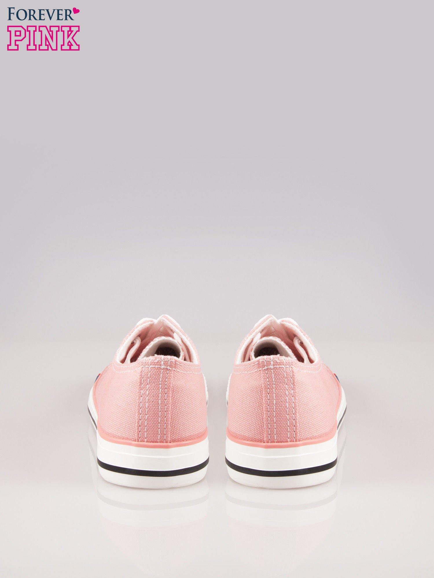 Różowe trampki damskie do kostek z paskiem na podeszwie                                  zdj.                                  3