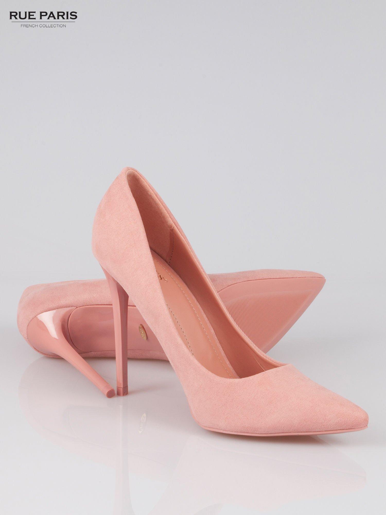 Różowe zamszowe szpilki w szpic  faux suede                                  zdj.                                  4