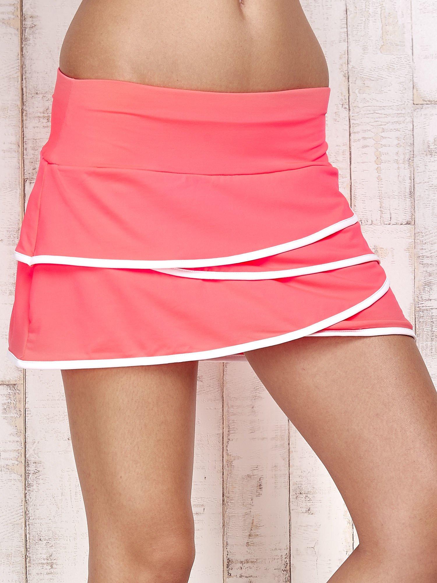 Różowo-białe spodenki spódniczka tenisowa z falbanką                                  zdj.                                  4