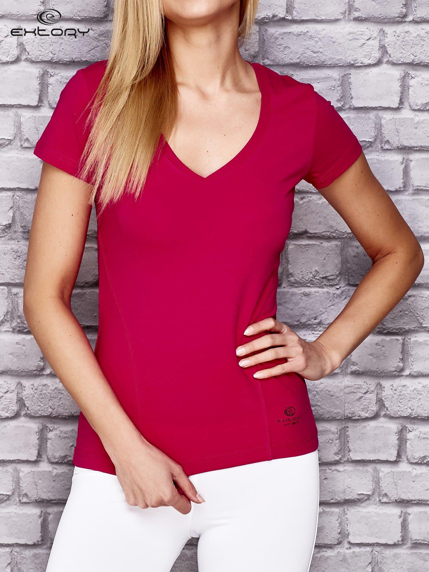 Różowy damski t-shirt sportowy z modelującymi przeszyciami                                  zdj.                                  1