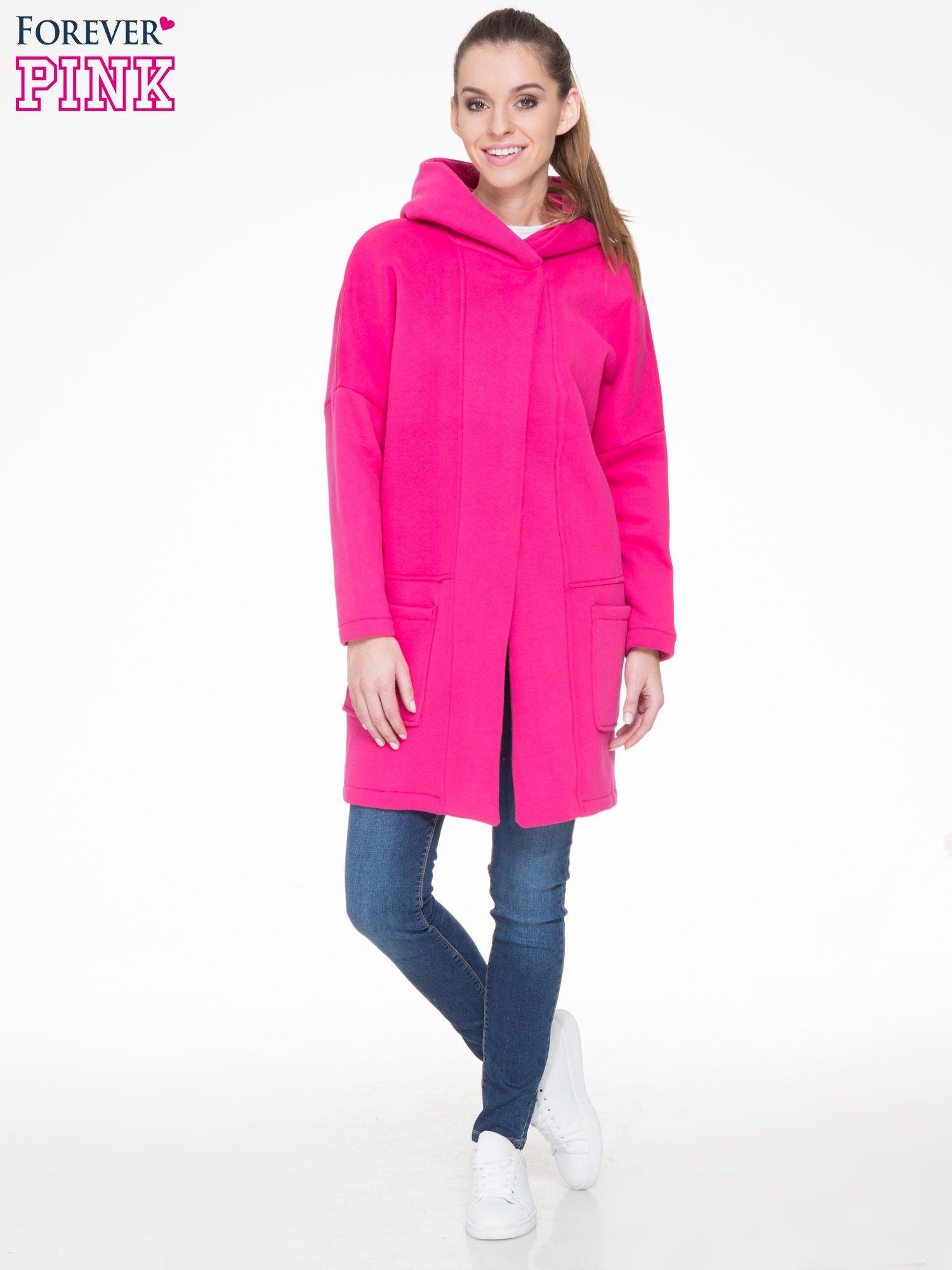 Różowy dresowy płaszcz z kapturem i kieszeniami                                  zdj.                                  2