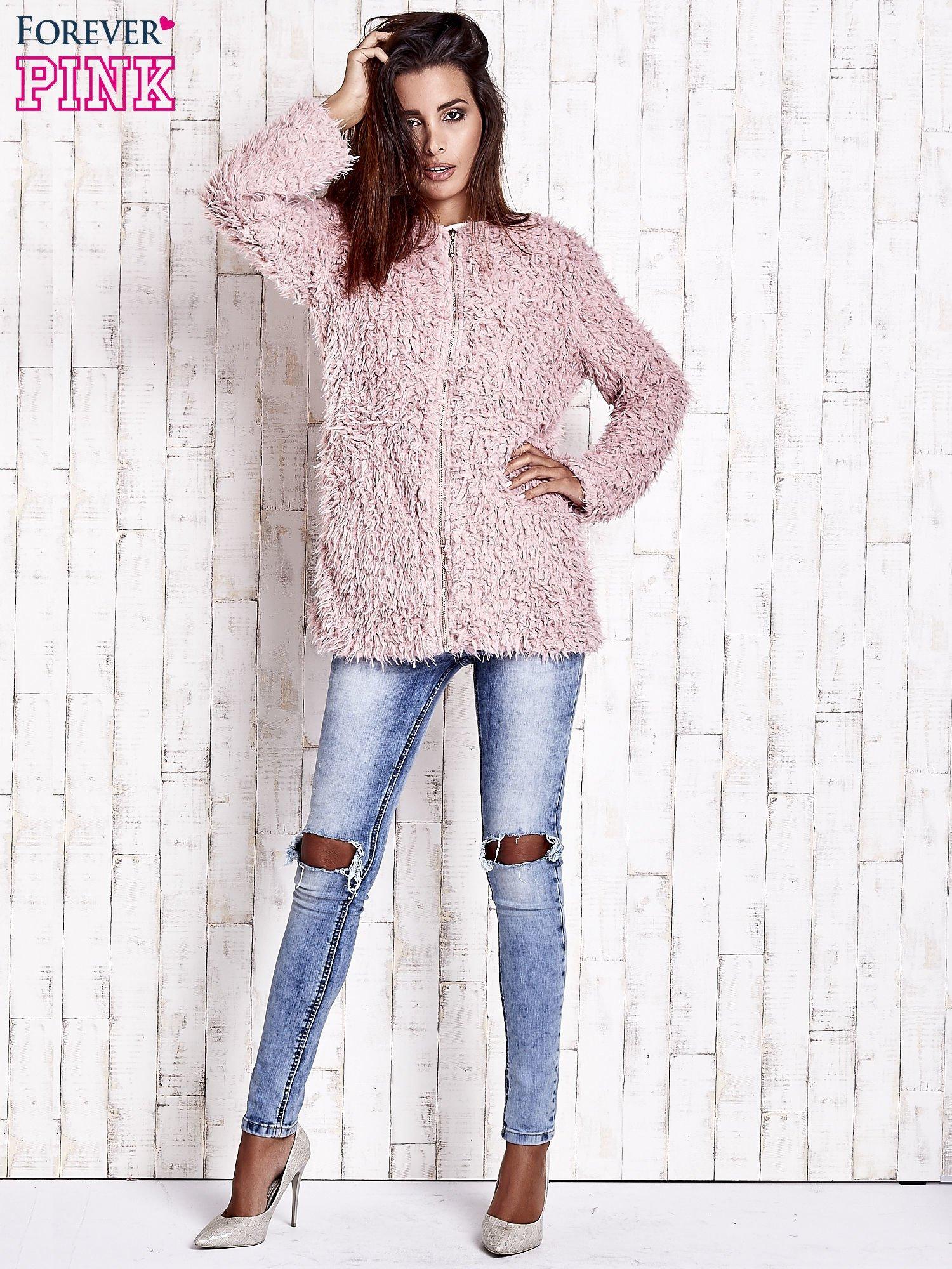 Różowy futrzany sweter kurtka na suwak                                  zdj.                                  3