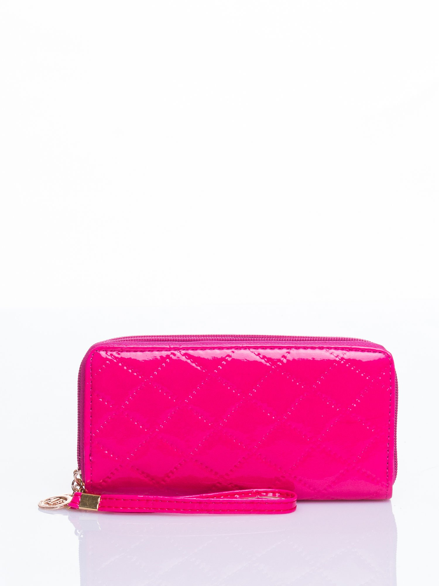 Różowy lakierowany pikowany portfel                                  zdj.                                  1