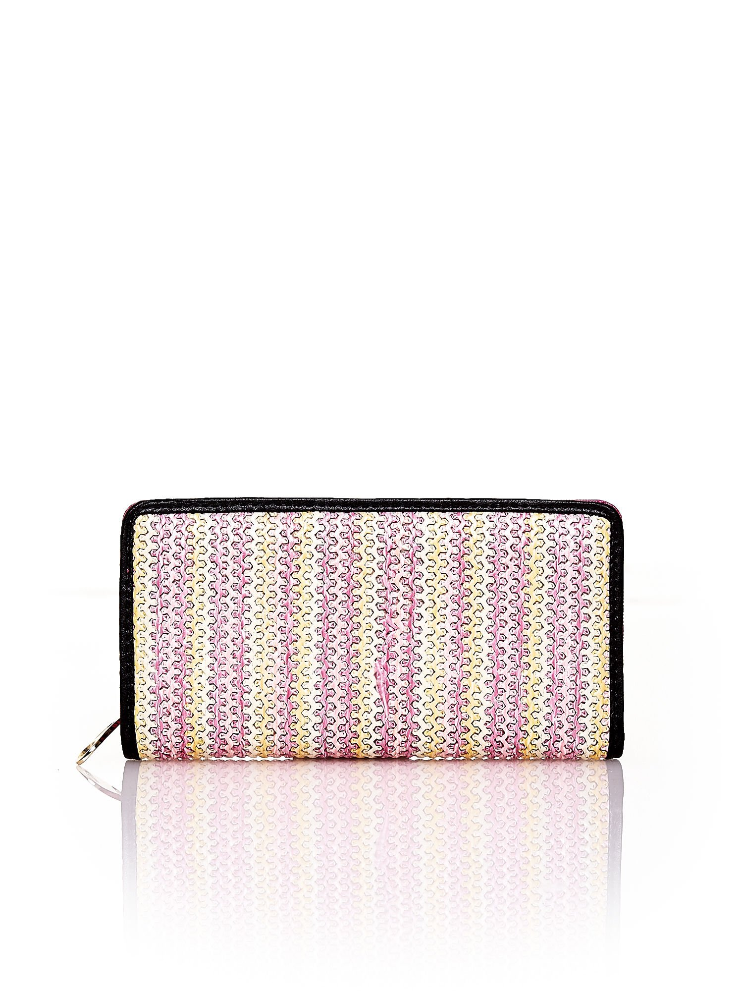 Różowy pleciony portfel w pionowe paski                                  zdj.                                  1