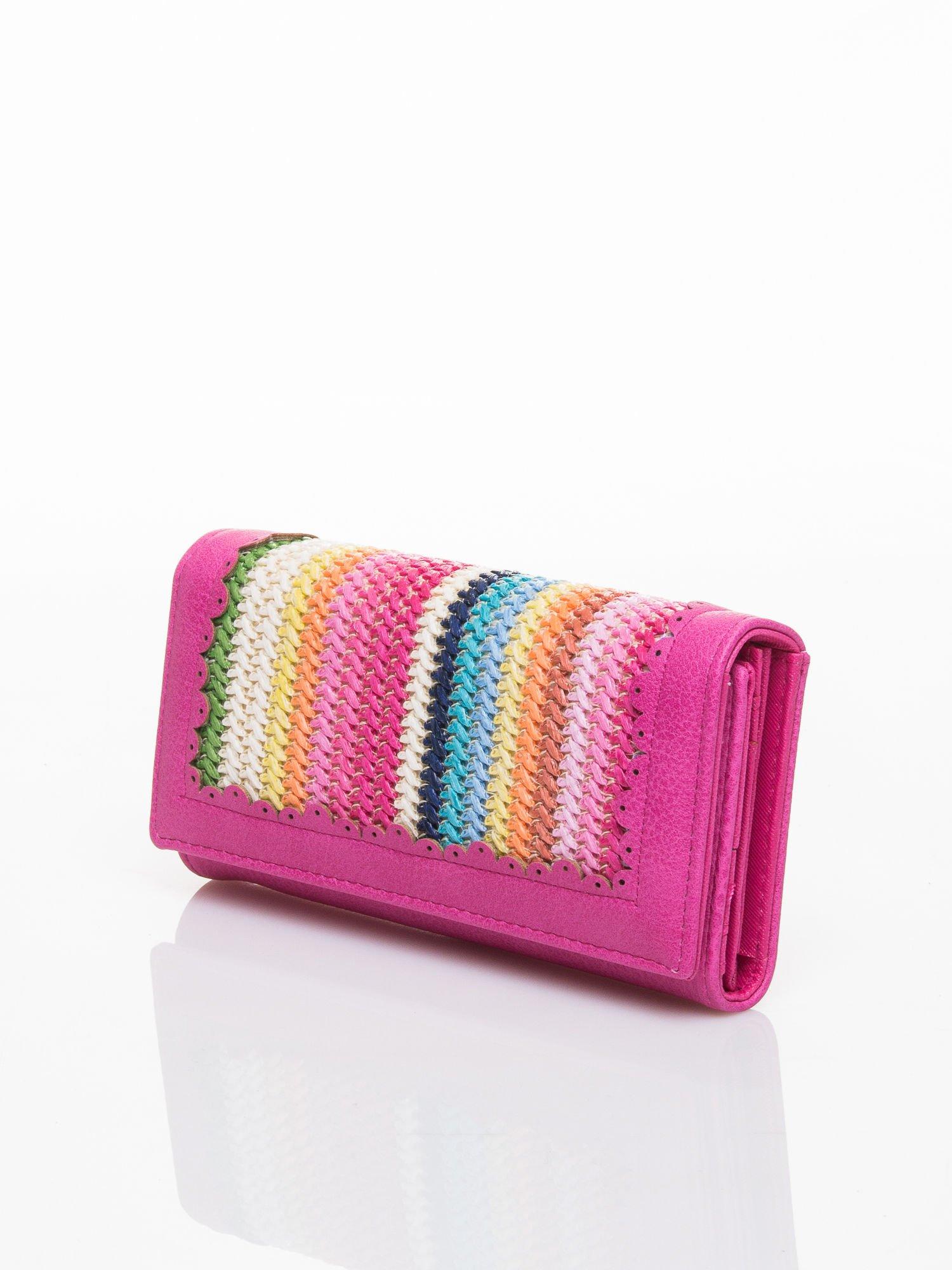 Różowy portfel z ażurowaniem i plecionką                                  zdj.                                  3