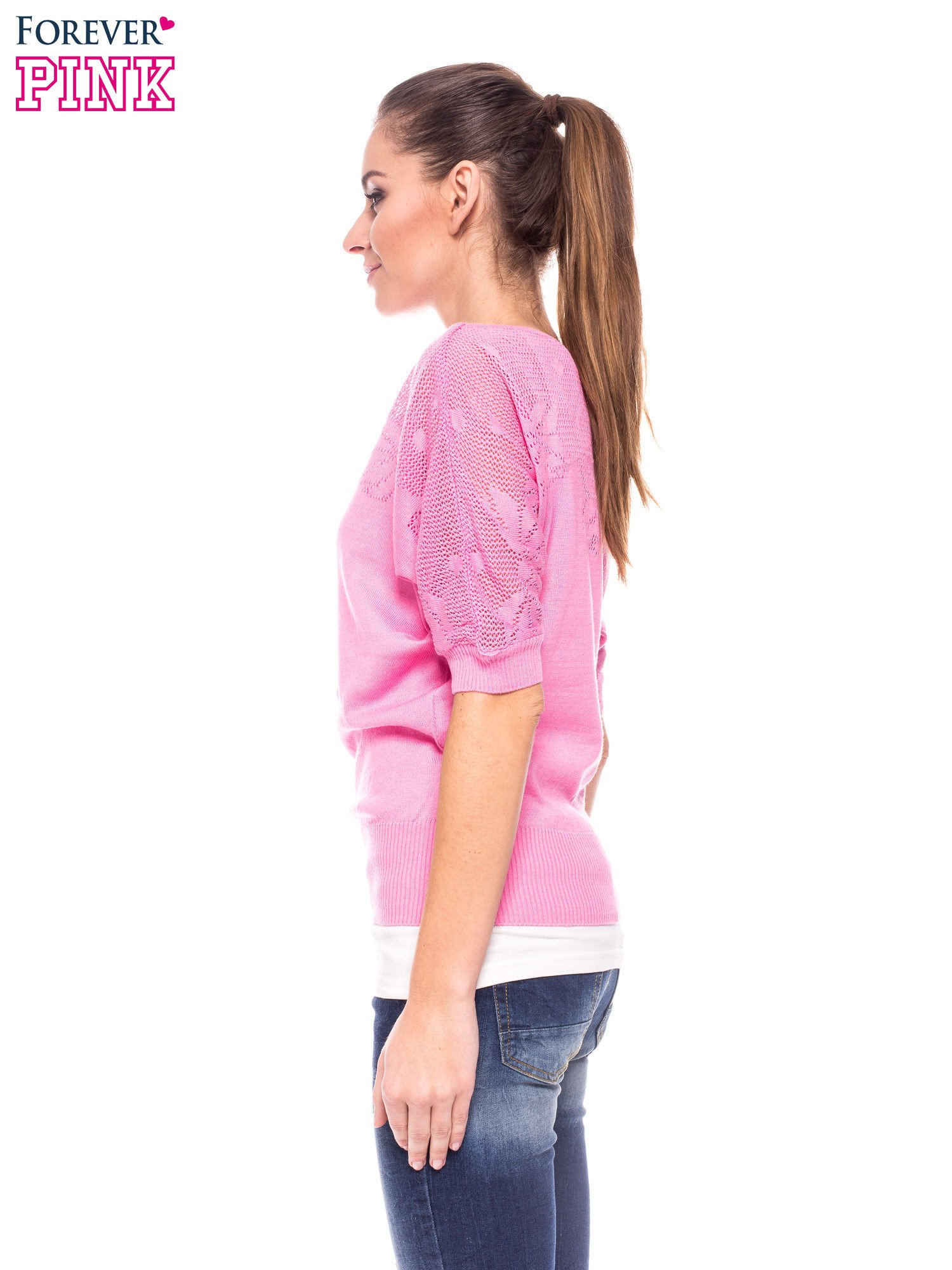 Różowy sweter z ażurową górą i krótkim rękawkiem                                  zdj.                                  2