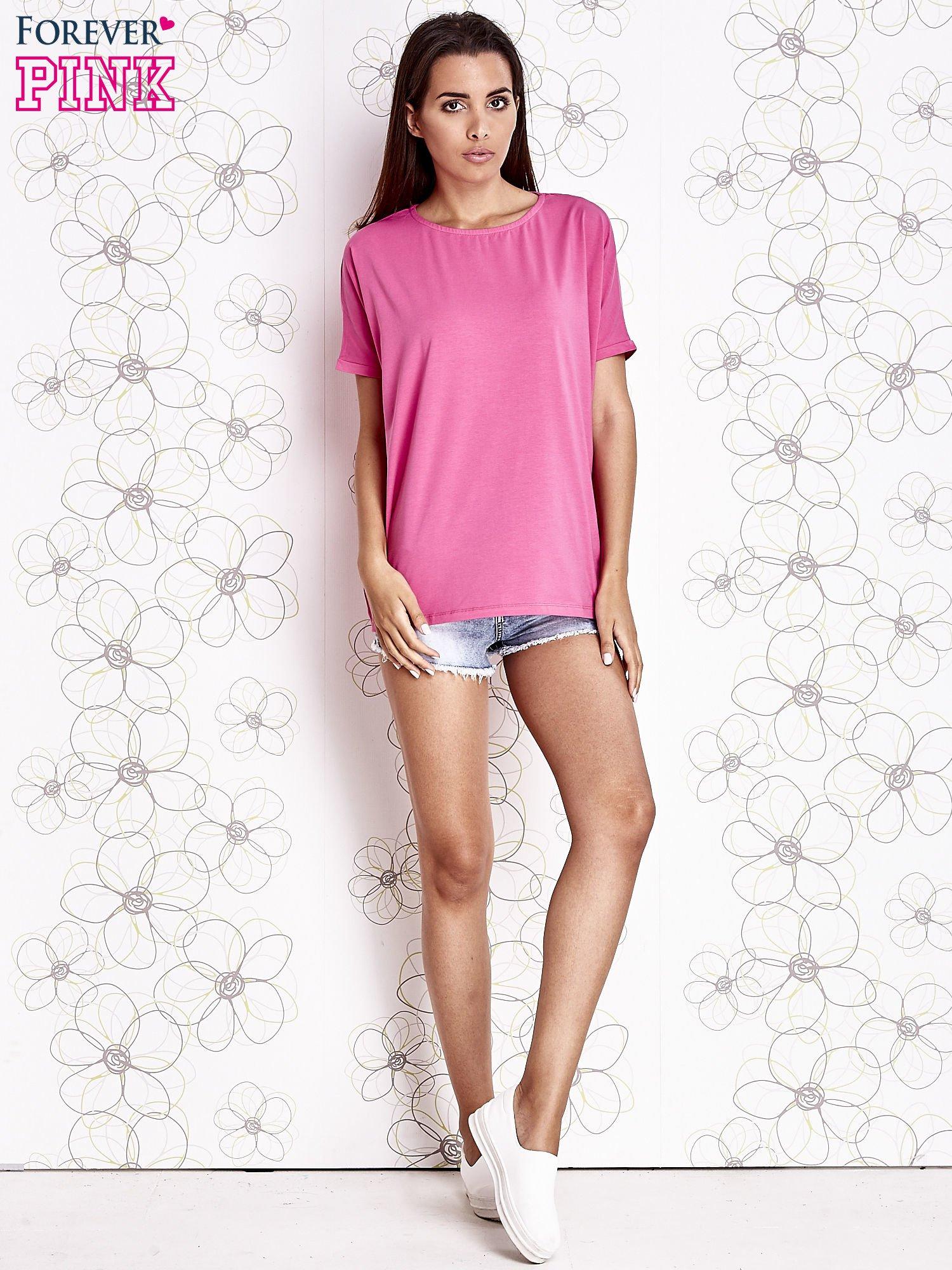 Różowy t-shirt oversize                                  zdj.                                  2