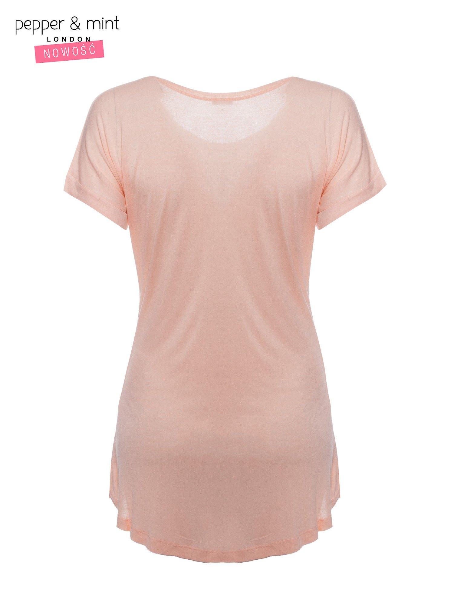 Różowy t-shirt z nadrukiem ptaszka w klatce                                  zdj.                                  2