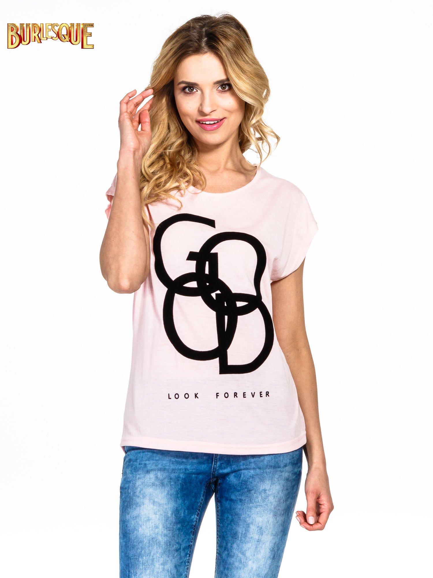 Różowy t-shirt z napisem LOOK GOOD FOREVER                                  zdj.                                  1