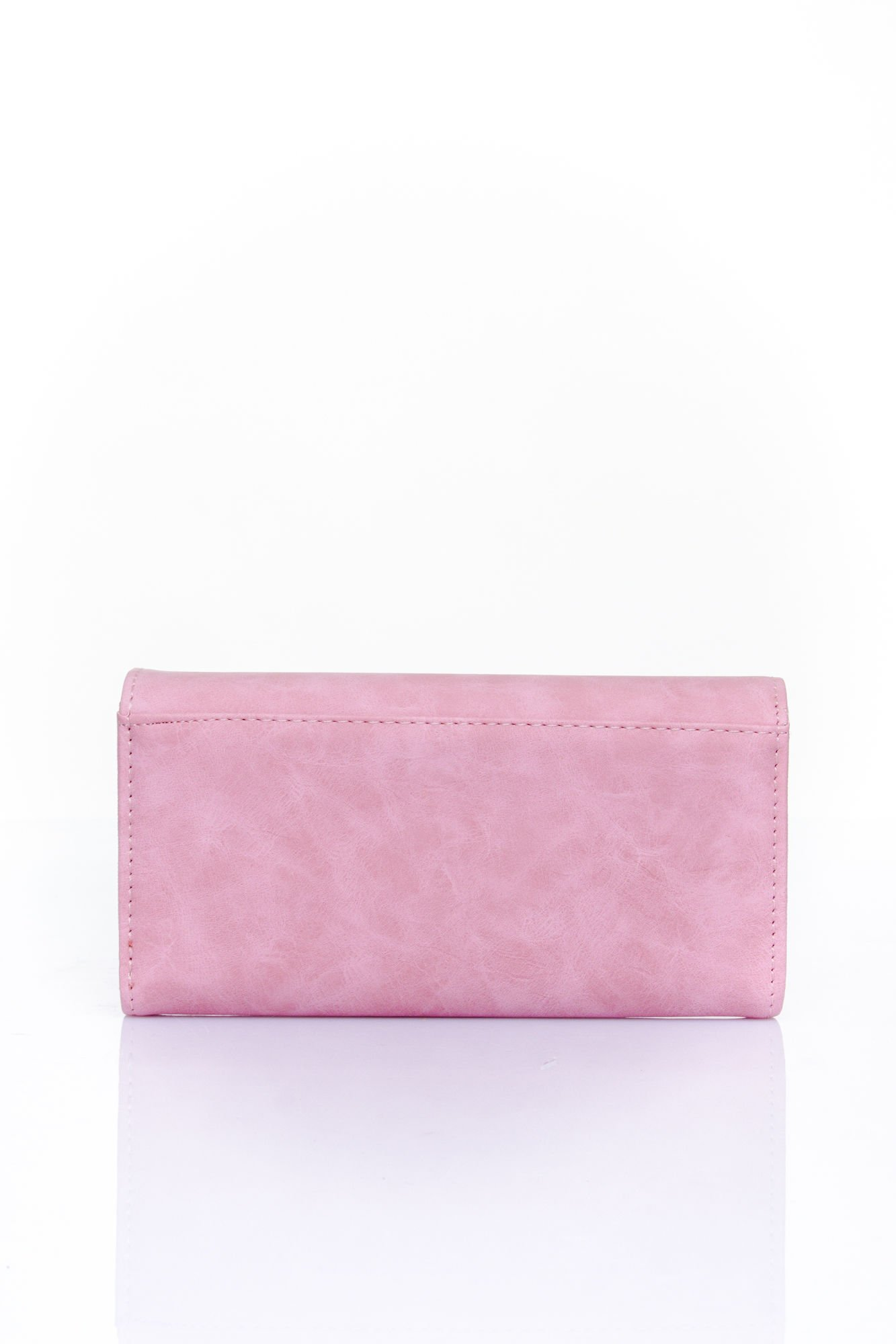 Różowy zamszowy portfel z geometrycznym motywem                                  zdj.                                  2