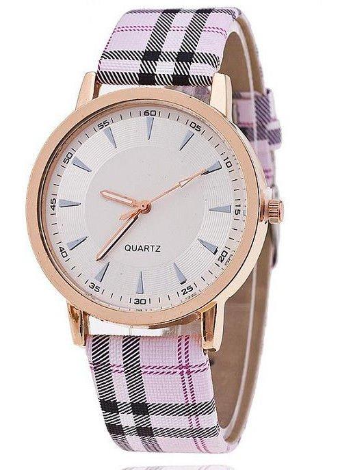 Różowy zegarek damski na pasiastym pasku                                  zdj.                                  1