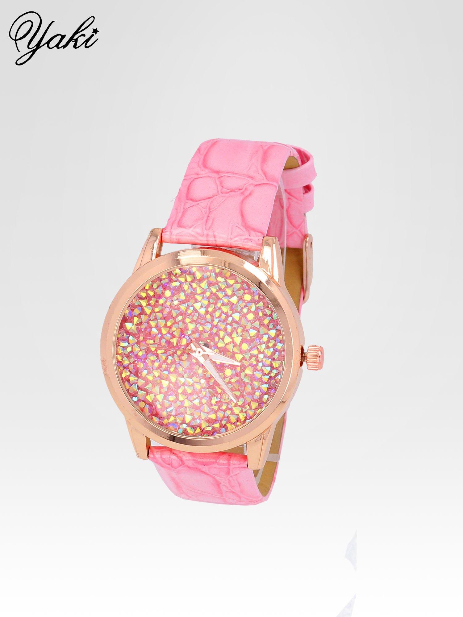 Różowy zegarek damski na pasku z tarczą glitter                                  zdj.                                  2