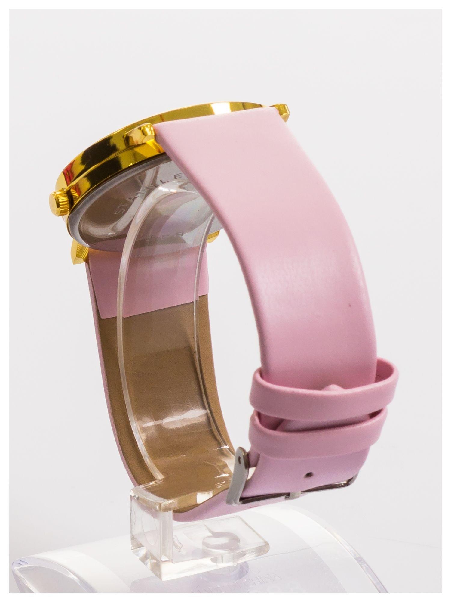 Różowy zegarek damski na skórzanym pasku                                  zdj.                                  4