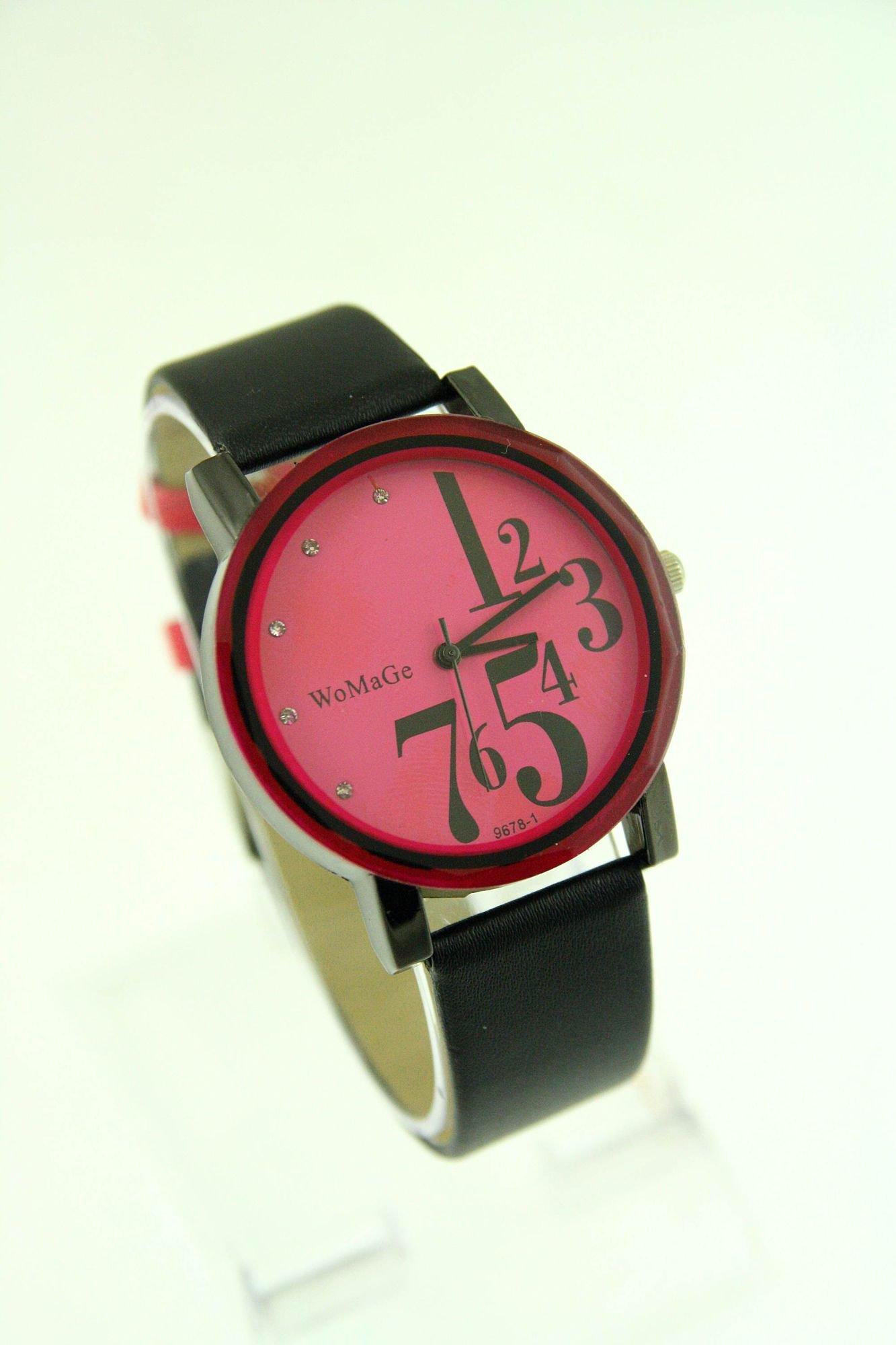 Różowy zegarek damski z cyrkoniami na pasku                                  zdj.                                  1