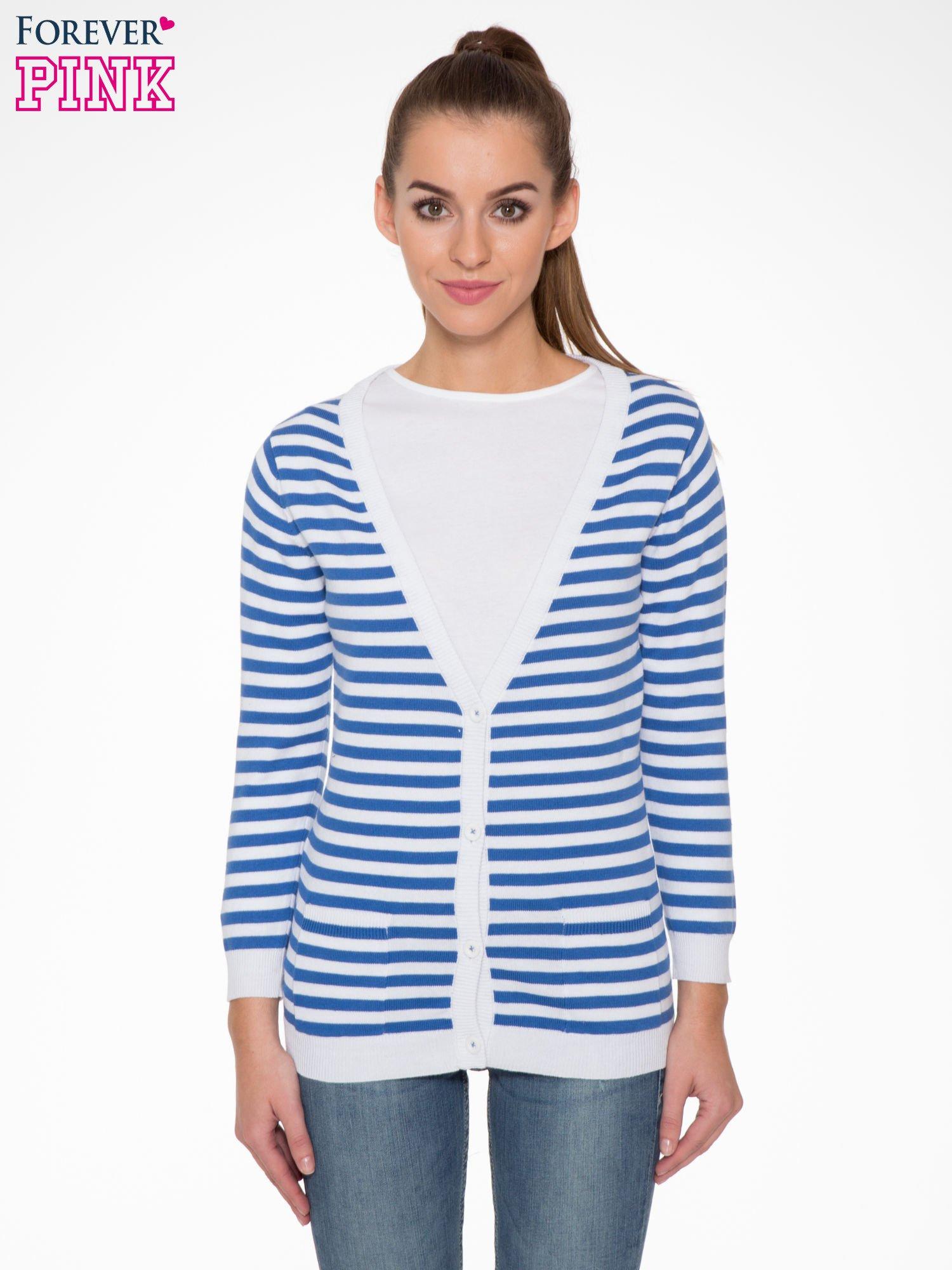 Rozpinany sweter w biało-niebieskie paski z kieszonkami po bokach                                  zdj.                                  1