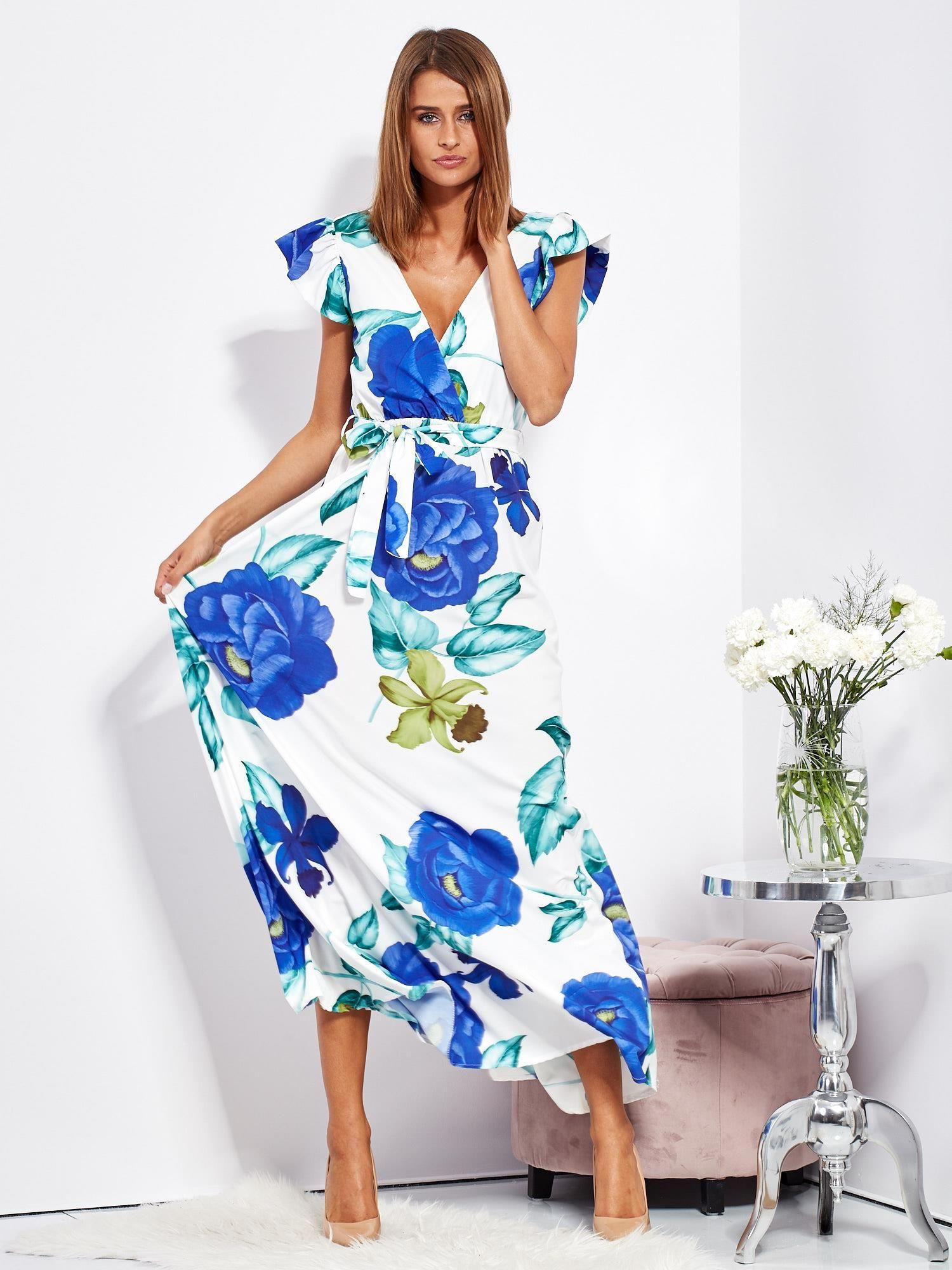 02288f0484a171 Biało-niebieska długa sukienka w kwiaty - Sukienka na co dzień ...