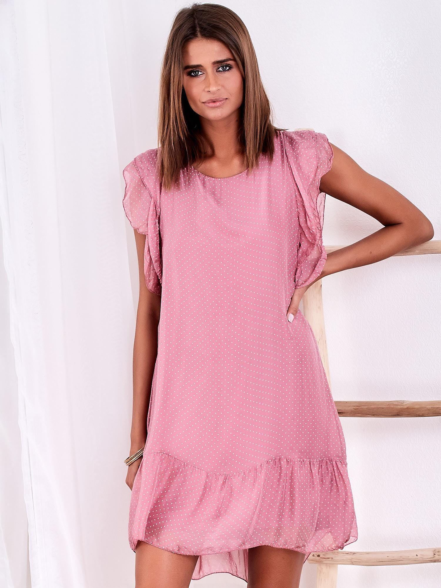 ccff1d7659 Różowa sukienka w groszki z falbaną - Sukienka na co dzień - sklep ...