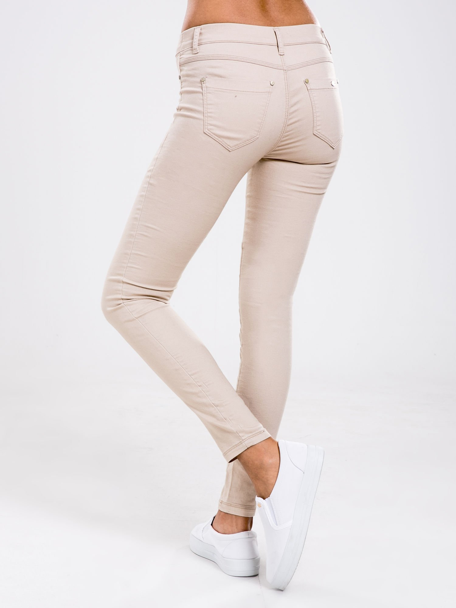 STRADIVARIUS Beżowe spodnie skinny typu jegginsy                                  zdj.                                  2