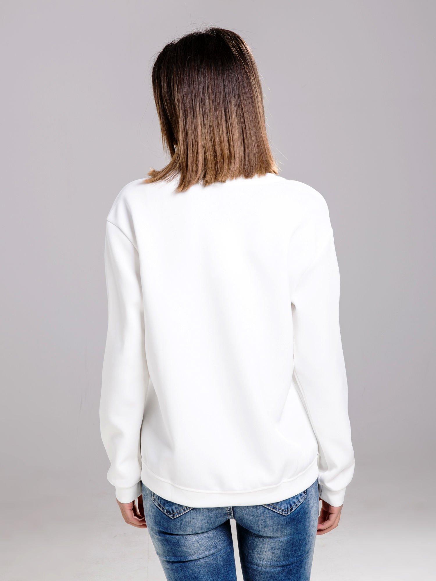 STRADIVARIUS Biała bluza fakturowana z zamkami                                  zdj.                                  2
