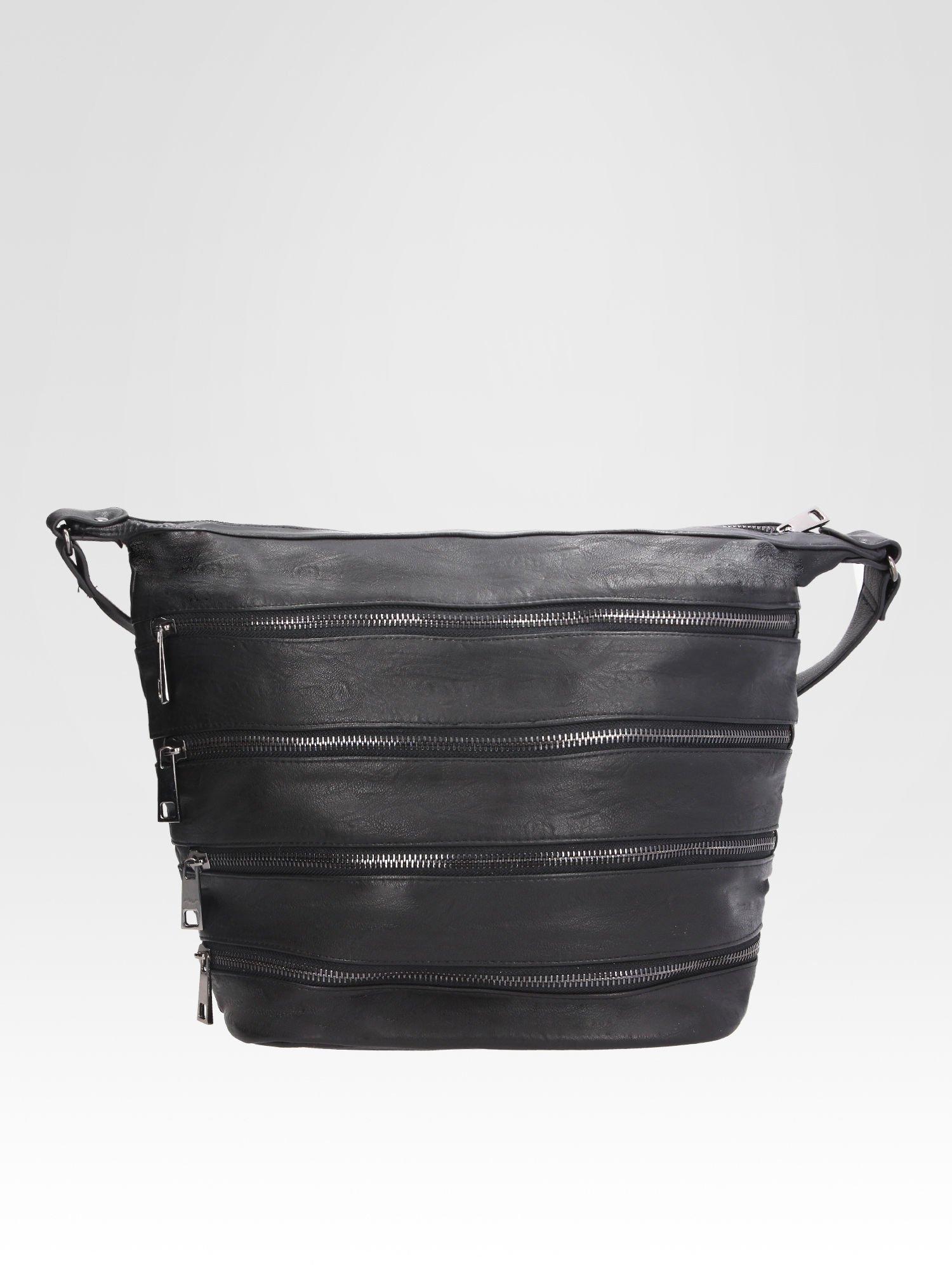 STRADIVARIUS Czarna torba z zipami                                  zdj.                                  1