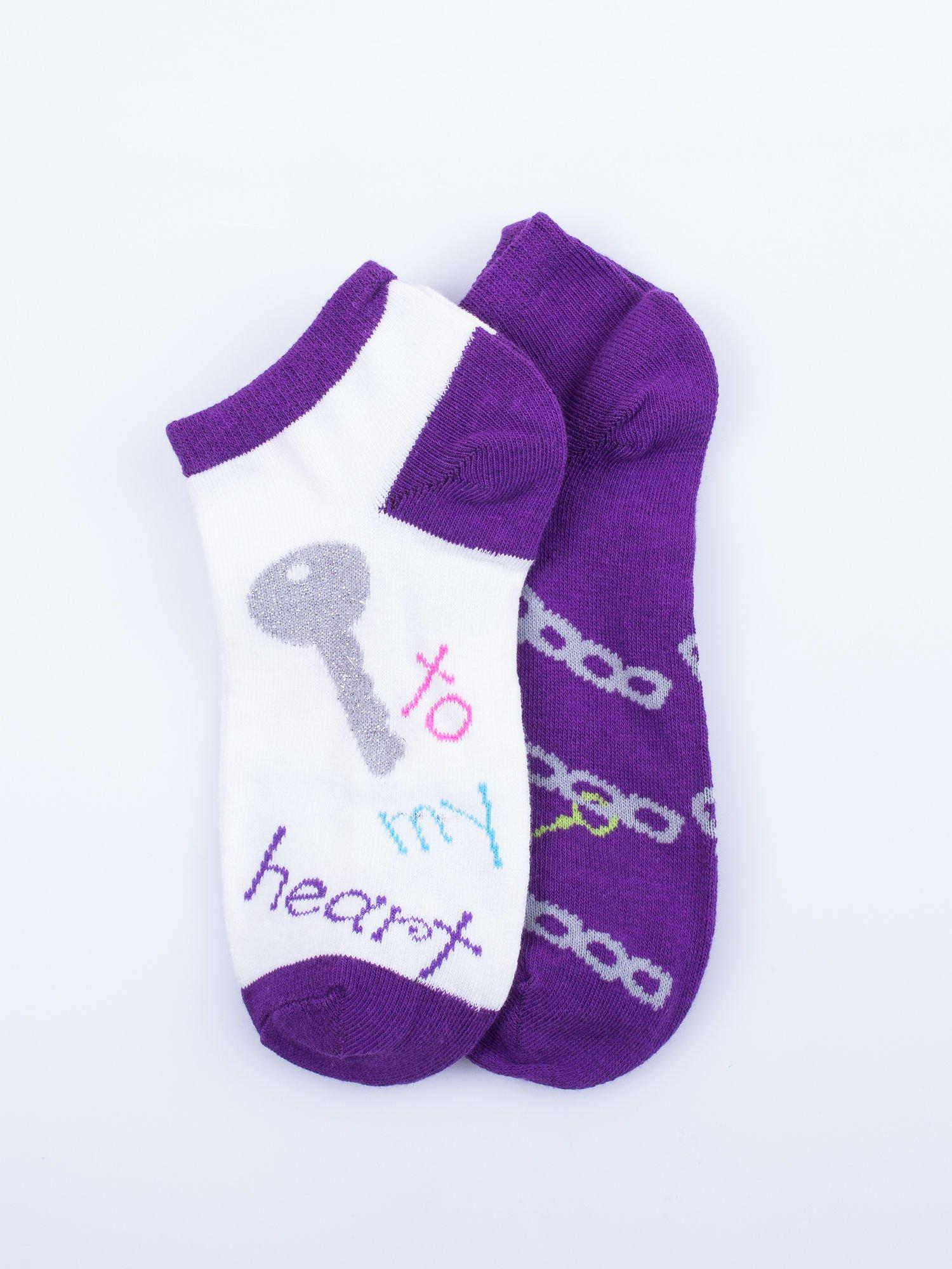 Skarpetki damskie stopki fiolet-biały dziewczęce zestaw 2 pary                                  zdj.                                  1