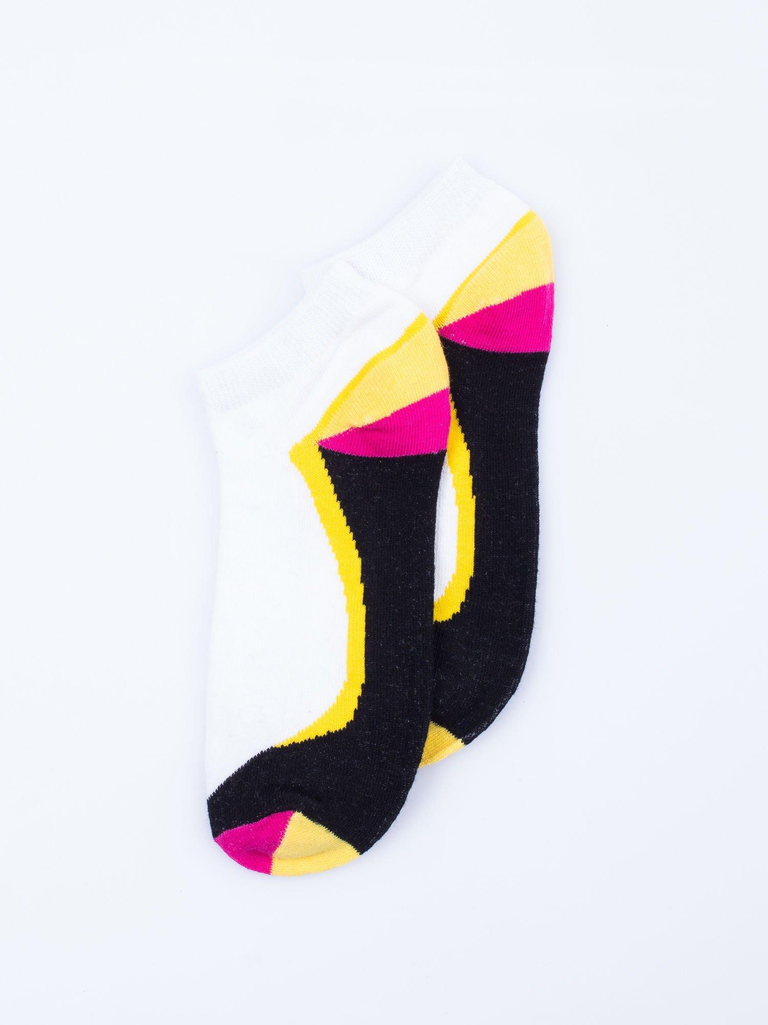 Skarpetki damskie stopki niebieski-żółty zestaw 2 pary                                  zdj.                                  5