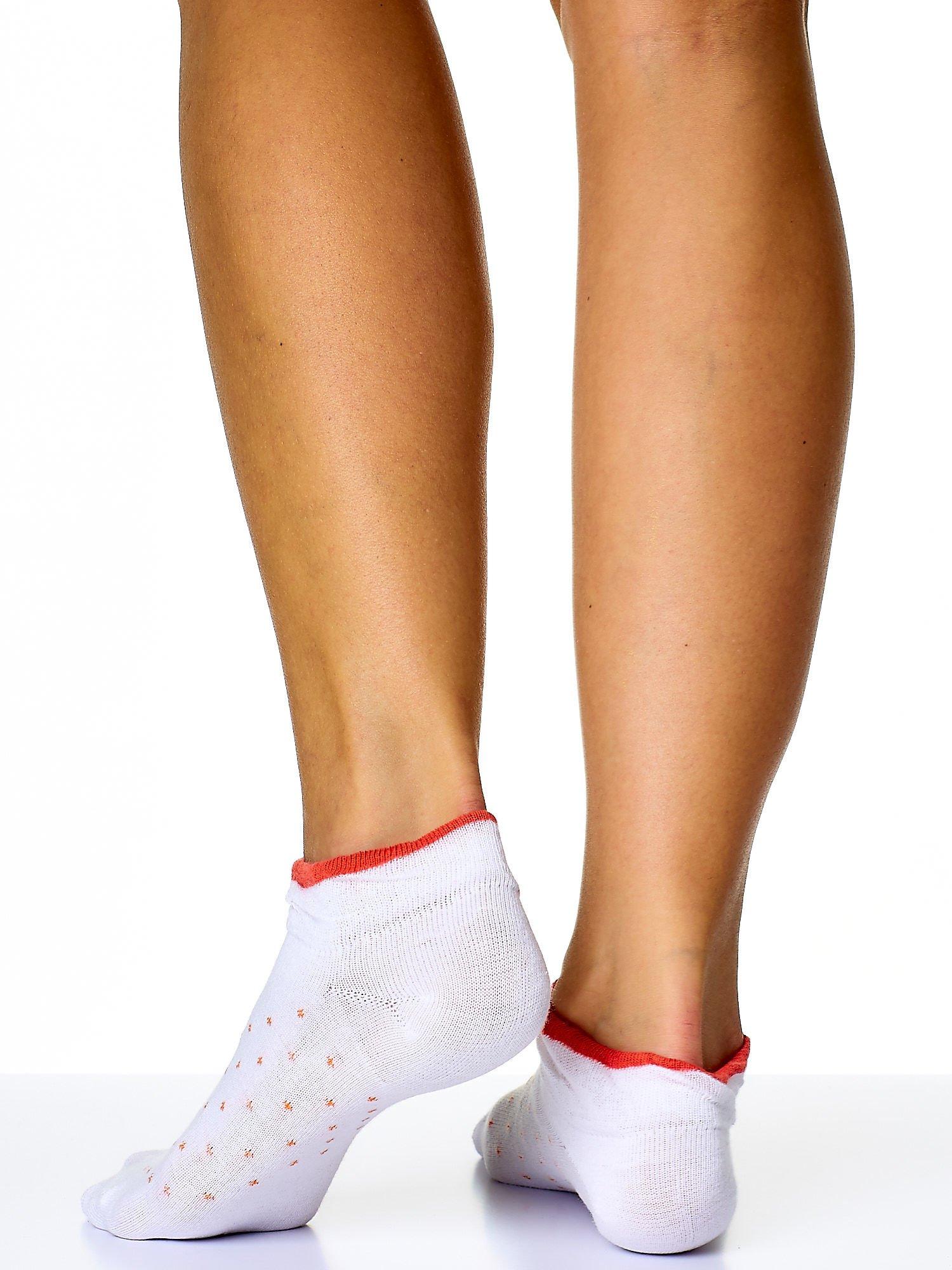Skarpetki damskie stopki turkusowy-biały zestaw 2 pary                                  zdj.                                  2