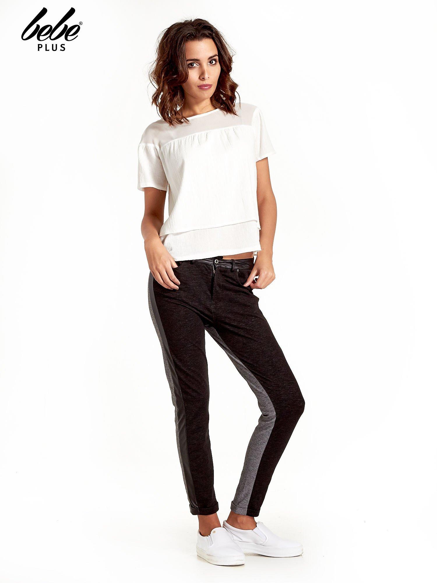 Spodnie two tone ze skórzanymi wstawkami                                  zdj.                                  8