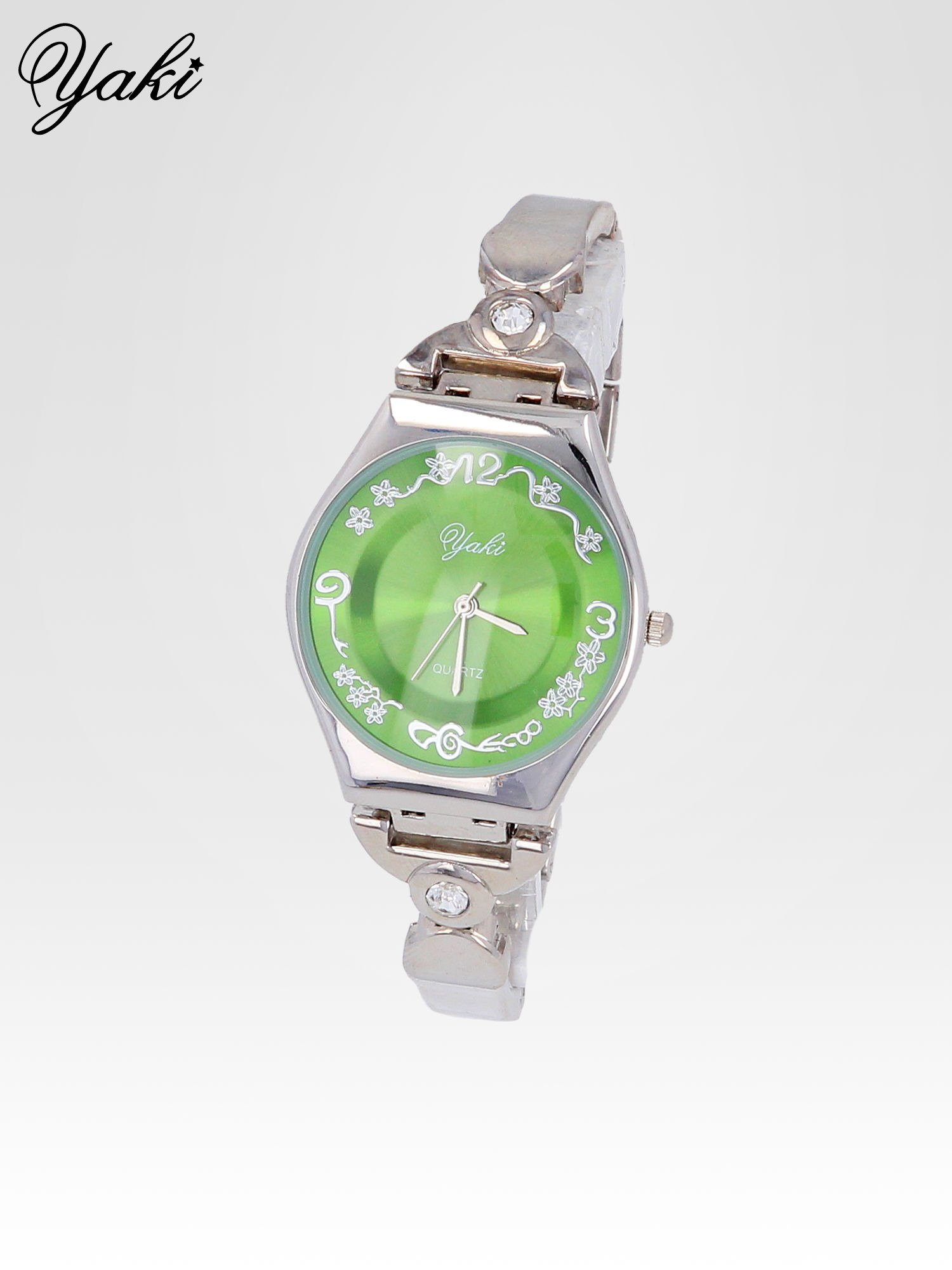 Srebrny biżuteryjny zegarek damski z zielona tarczą                                  zdj.                                  2