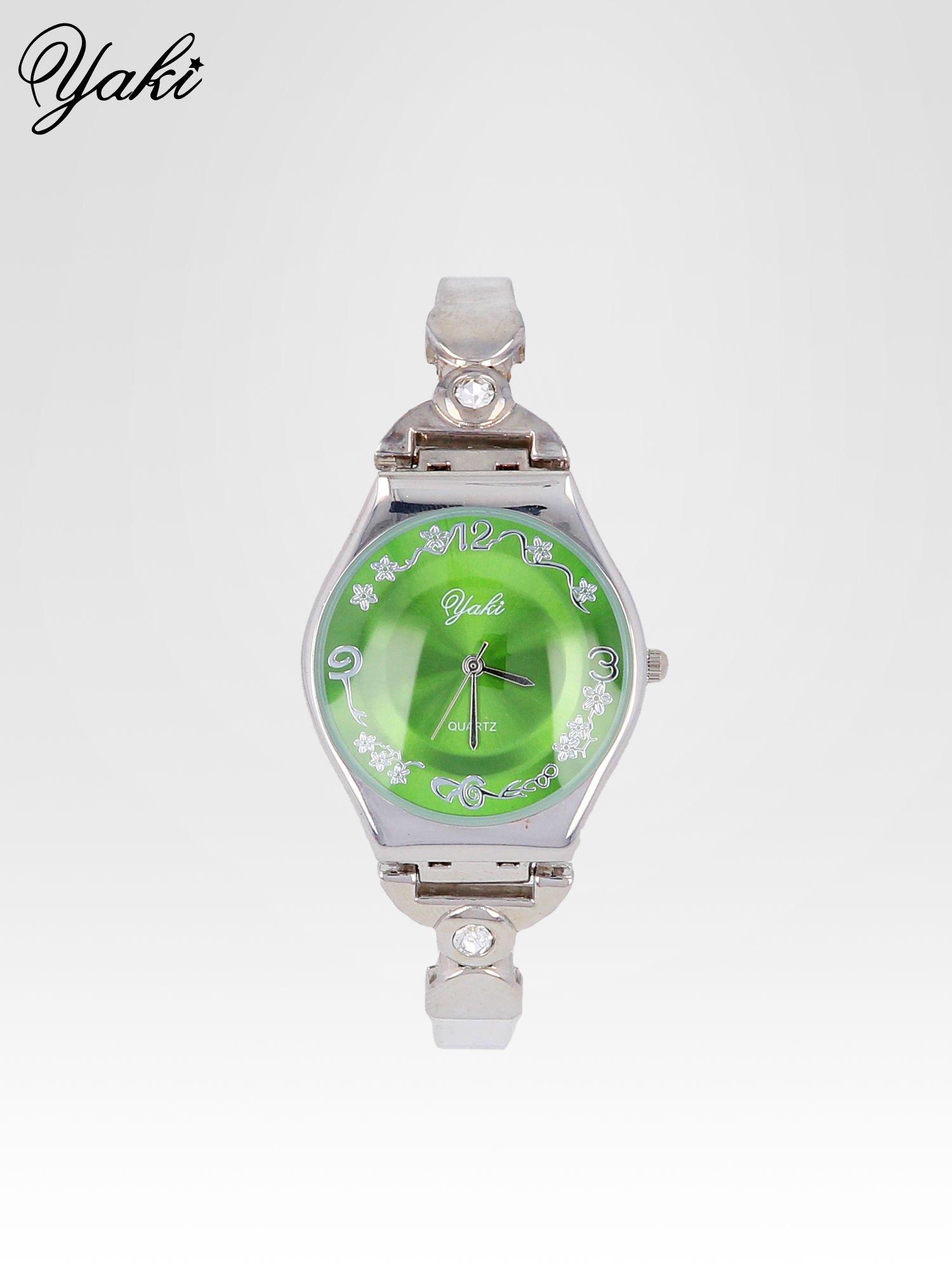 Srebrny biżuteryjny zegarek damski z zielona tarczą                                  zdj.                                  1