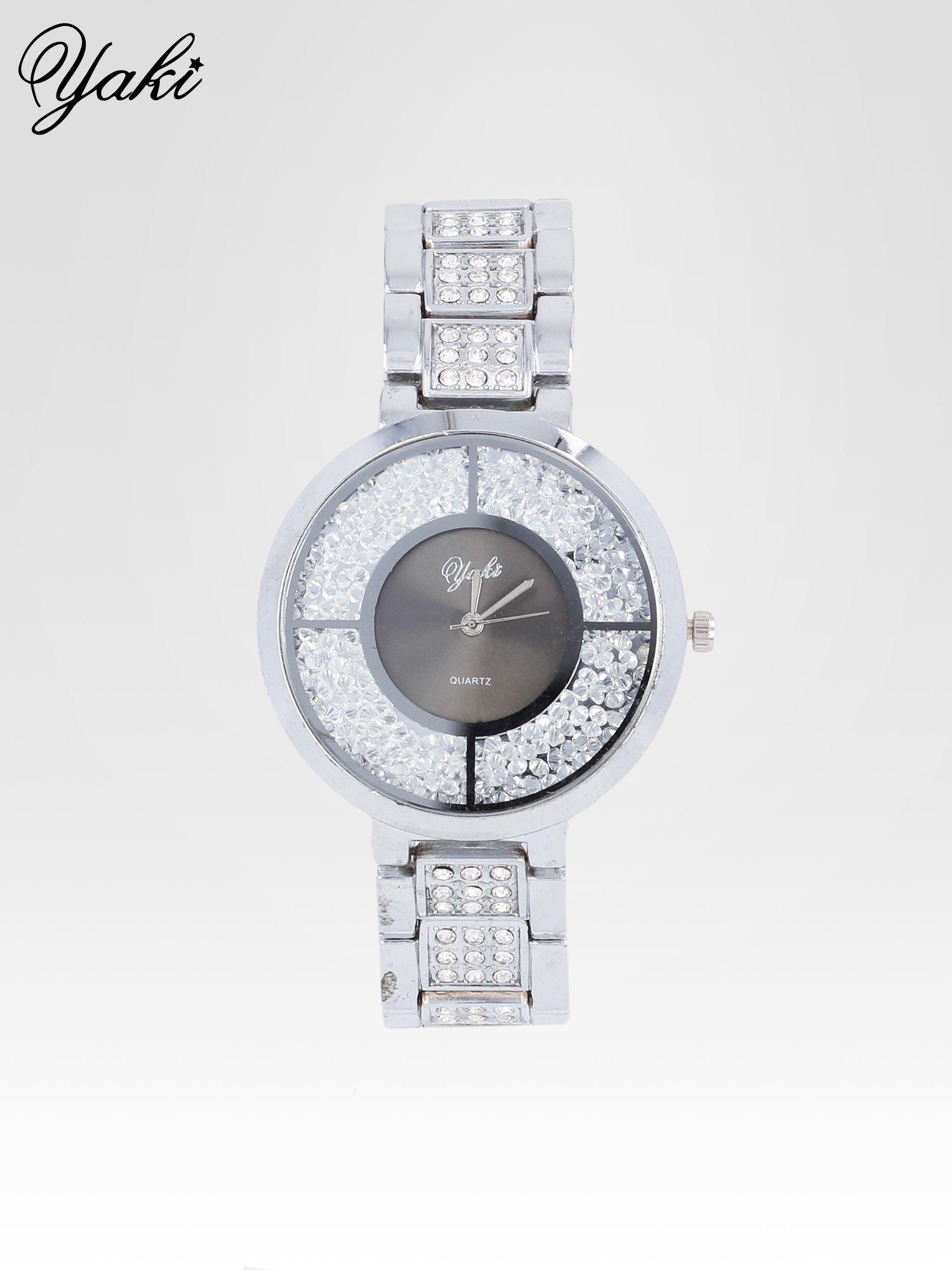 Srebrny zegarek damski na bransolecie z czarną cyrkoniową tarczą                                  zdj.                                  1
