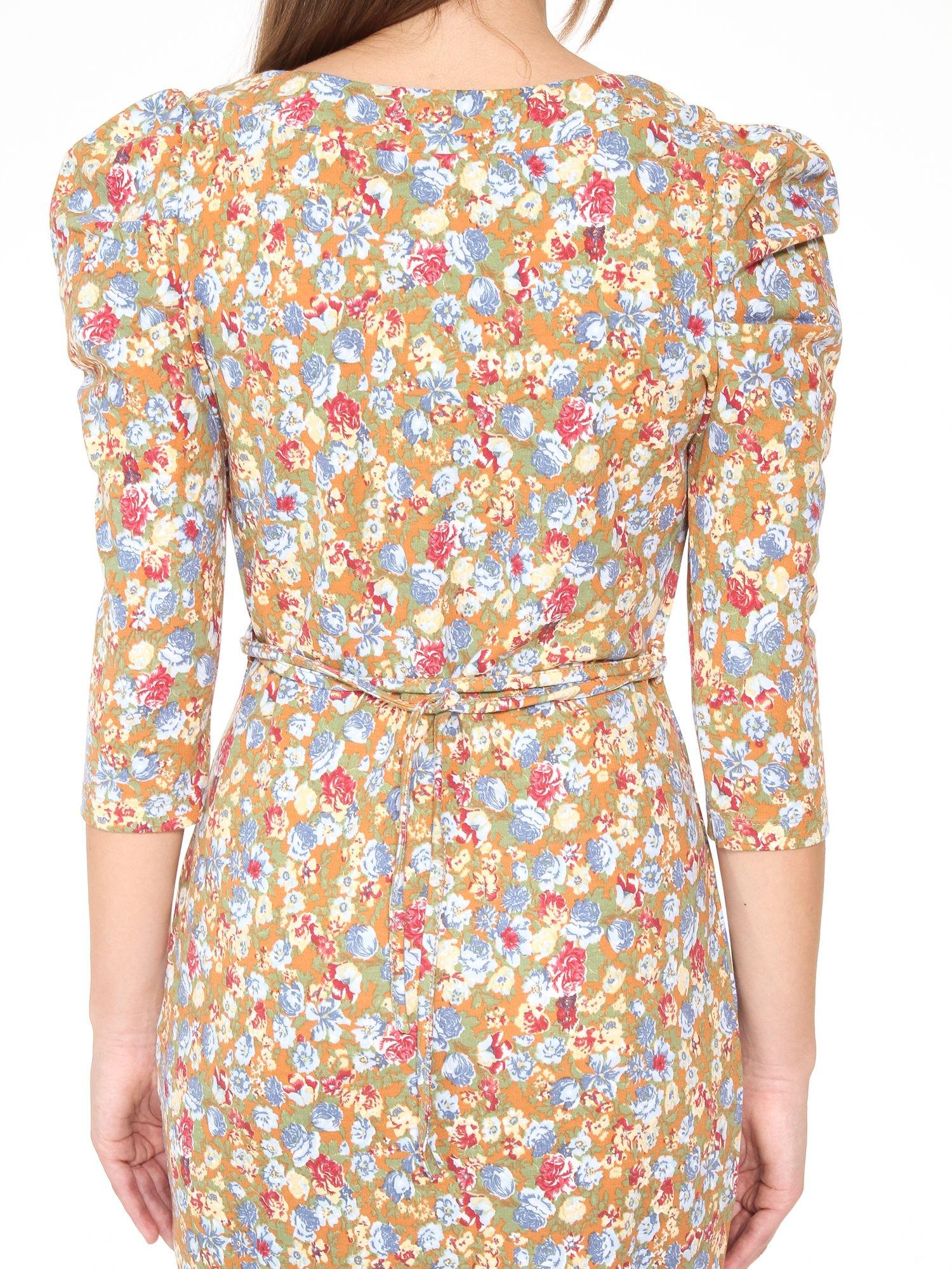 Sukienka w łączkę z marszczonymi rękawkami                                  zdj.                                  10
