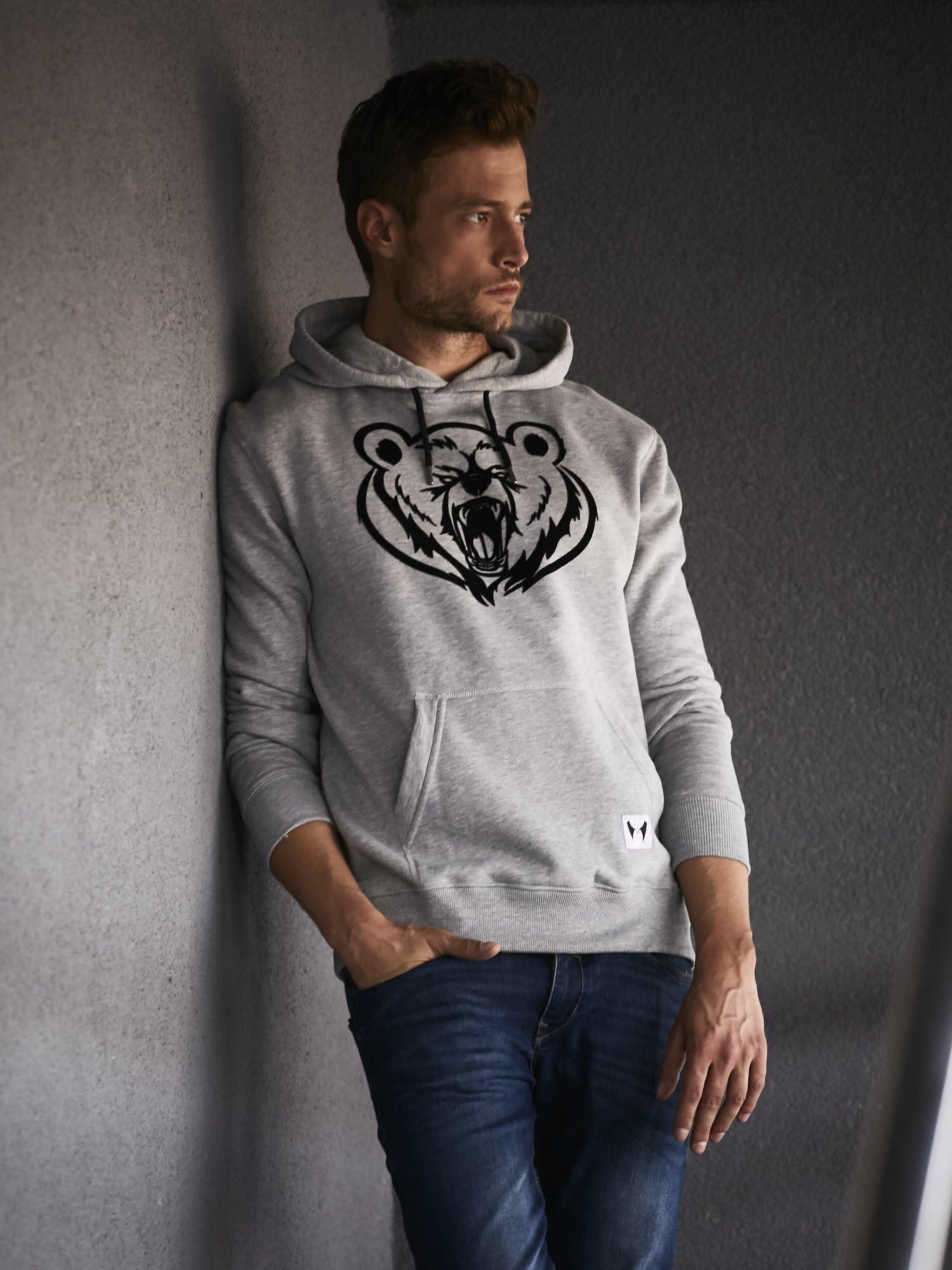Szara bluza męska z kapturem i nadrukiem niedźwiedzia                                  zdj.                                  1