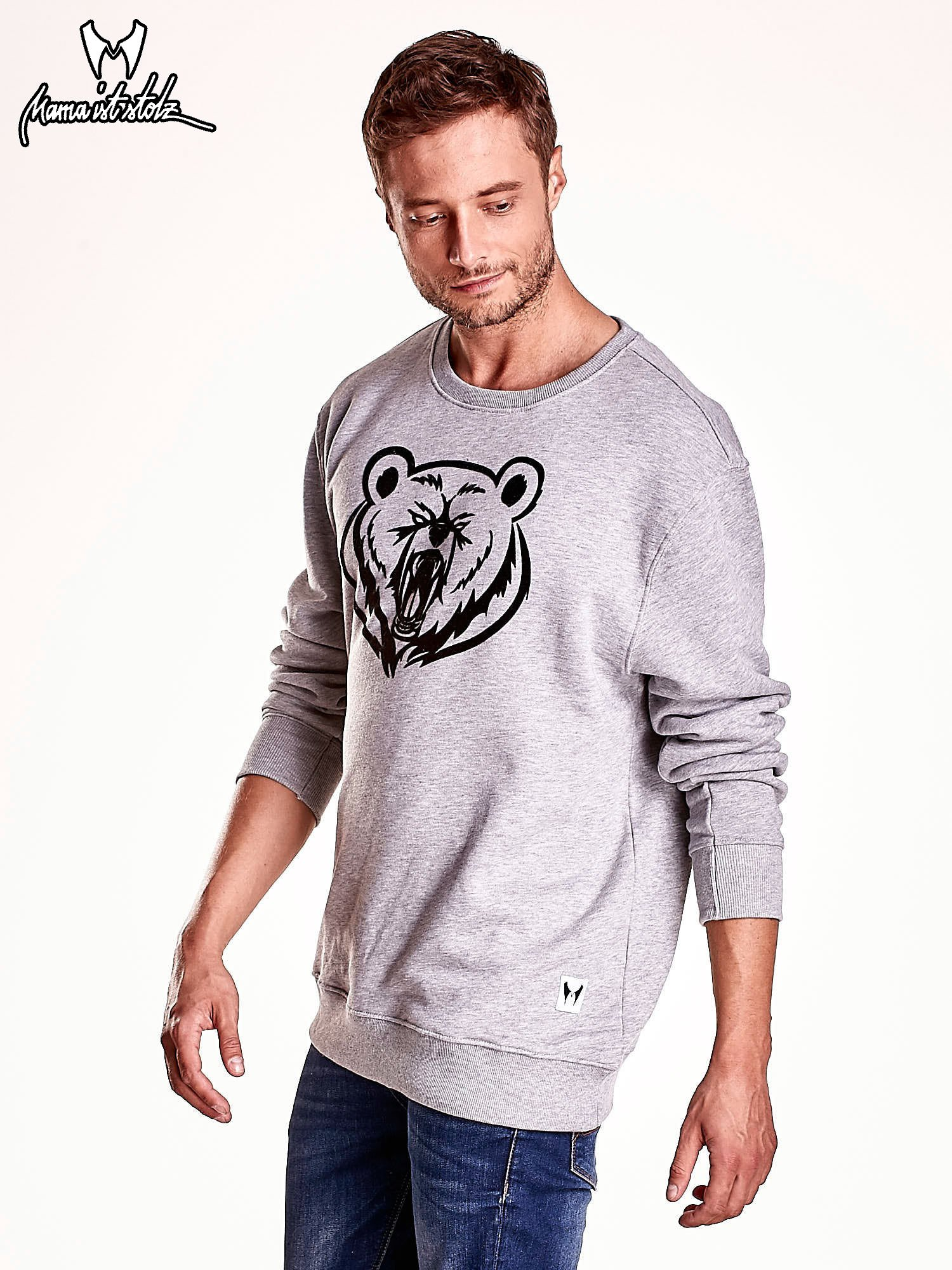 Szara bluza męska z niedźwiedziem                                  zdj.                                  5