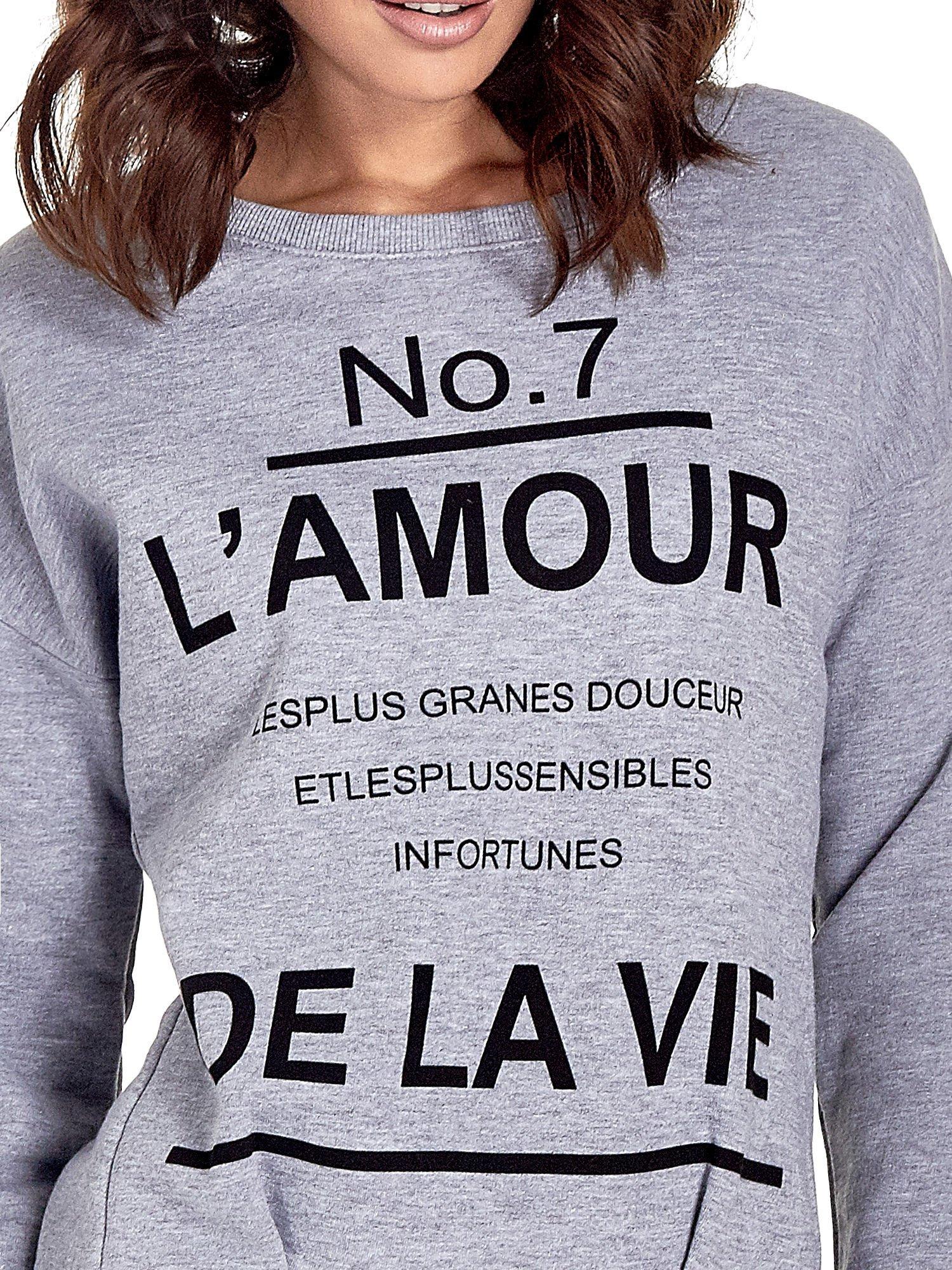 Szara bluza z francuskim napisem NO. 7 L'AMOUR                                  zdj.                                  5
