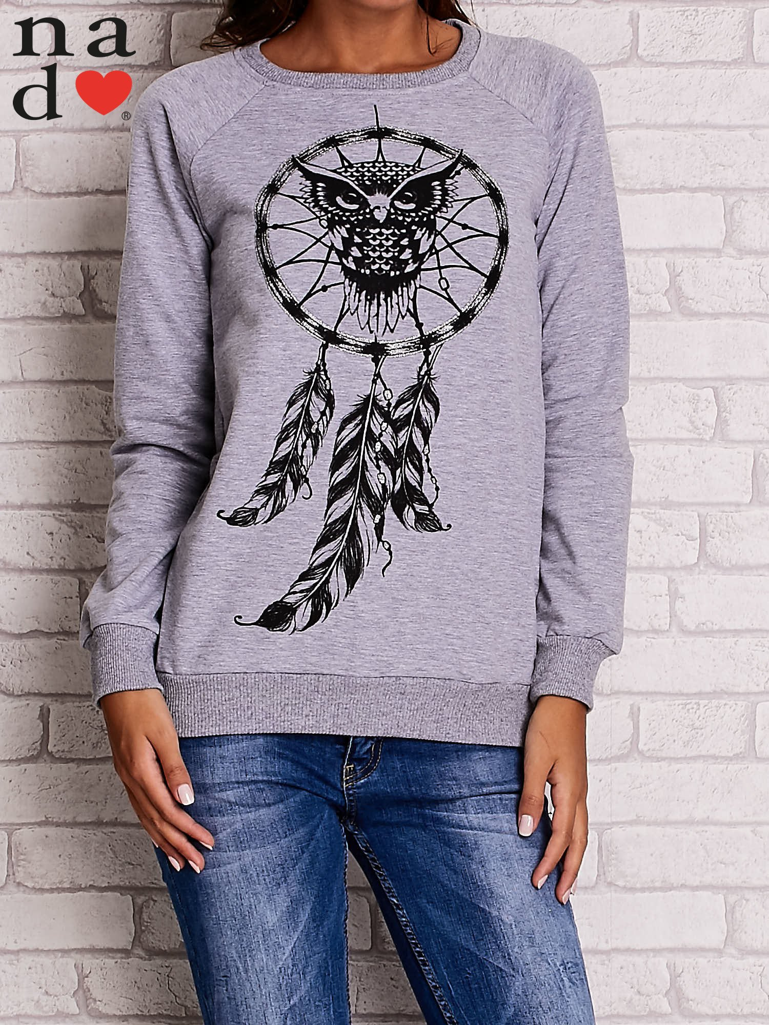Szara bluza z motywem sowy i łapacza snów                                  zdj.                                  1