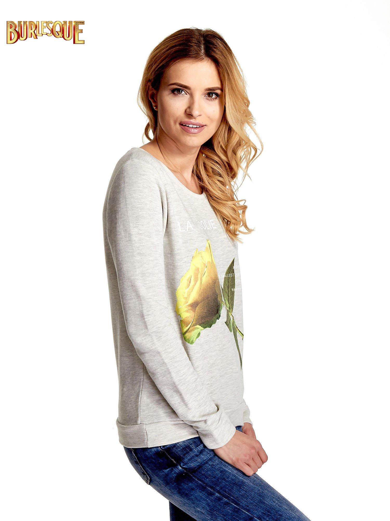 Szara bluza z nadrukiem róży                                  zdj.                                  3