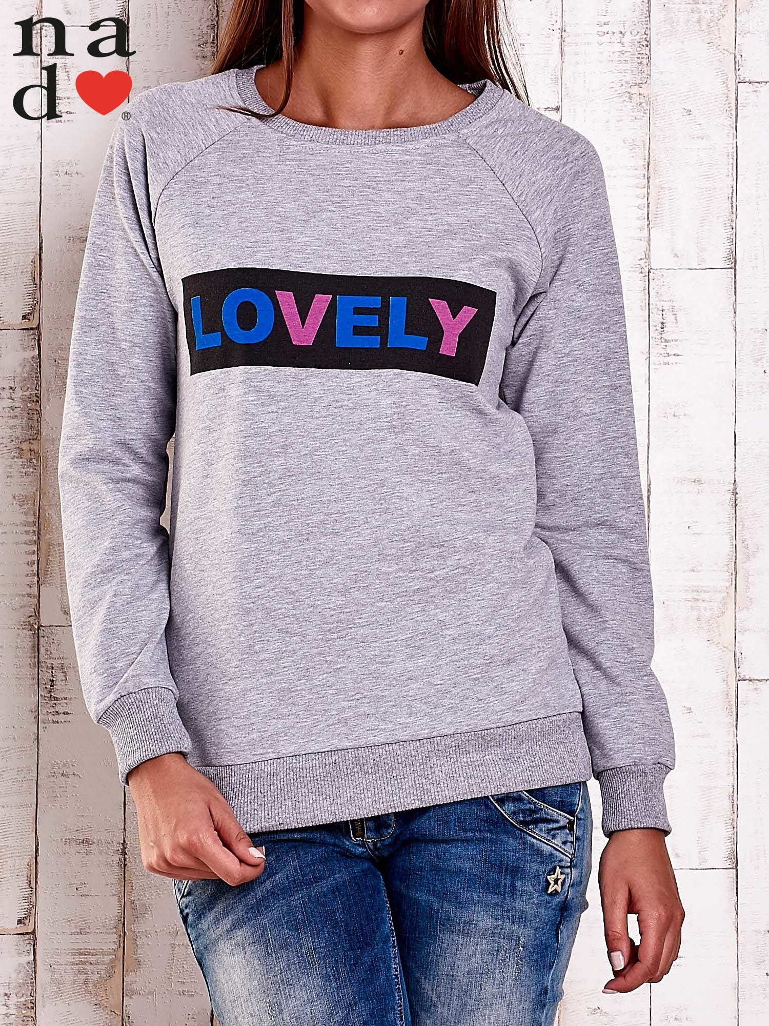 Szara bluza z napisem LOVELY                                  zdj.                                  1