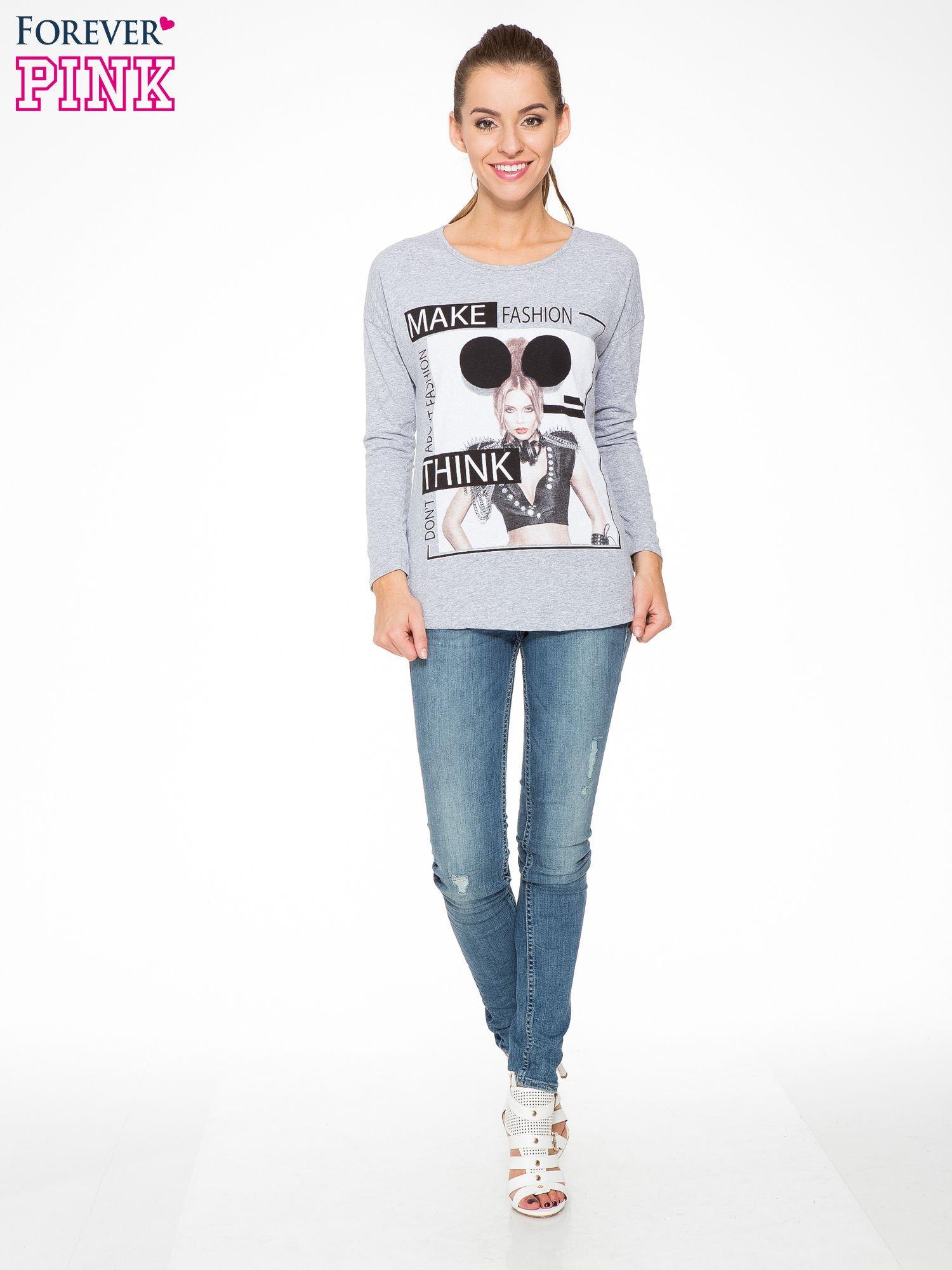 Szara bluzka w stylu fashion                                  zdj.                                  2