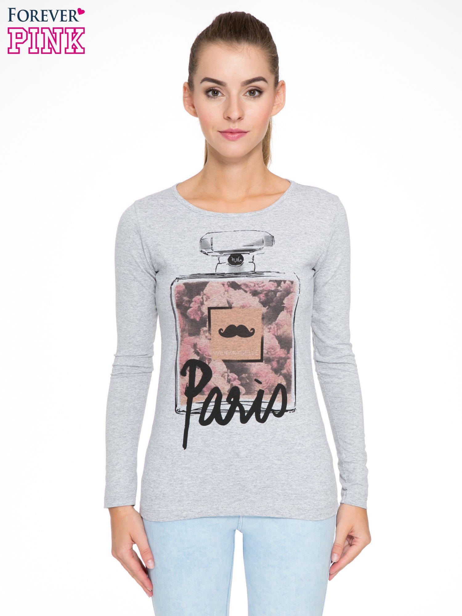 Szara bluzka z motywem Paryża                                  zdj.                                  1