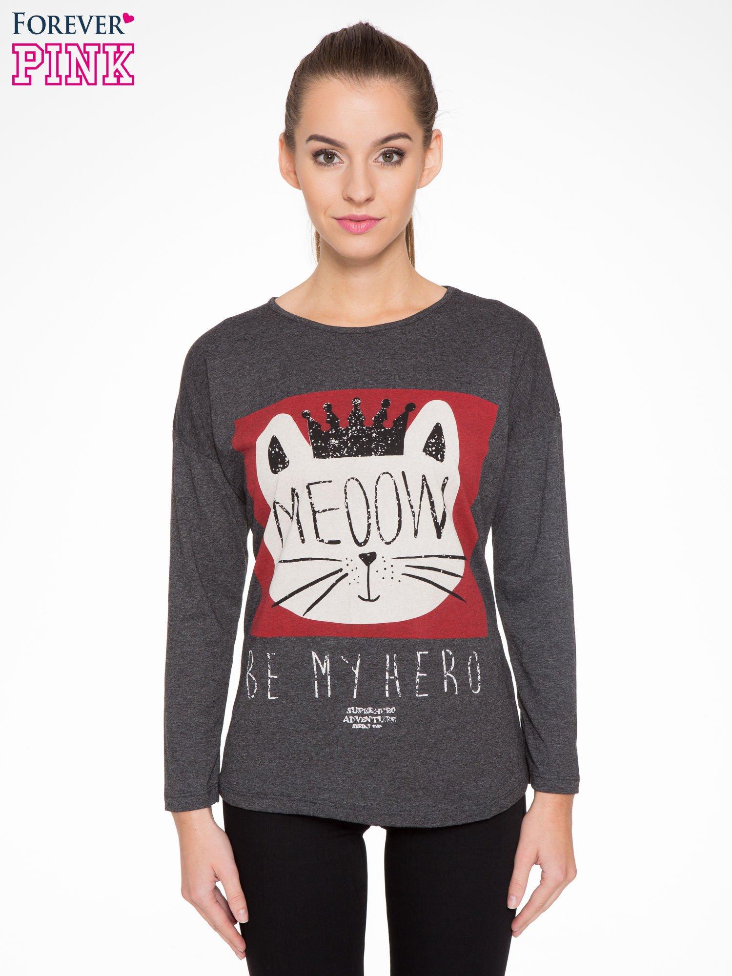 Szara bluzka z nadrukiem kota z koroną i napisem MEOW                                  zdj.                                  1